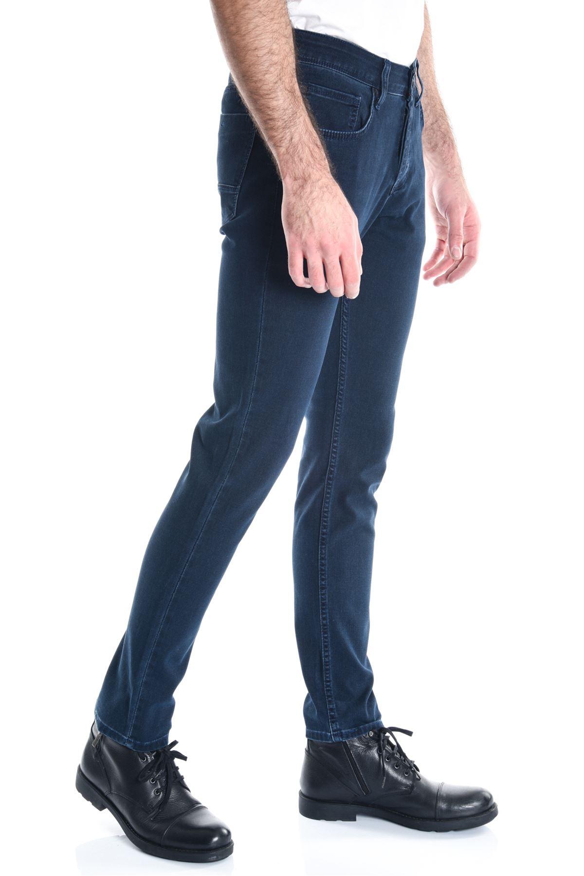 Lacivert Pitikare Yeni Erkek Kot Pantolon