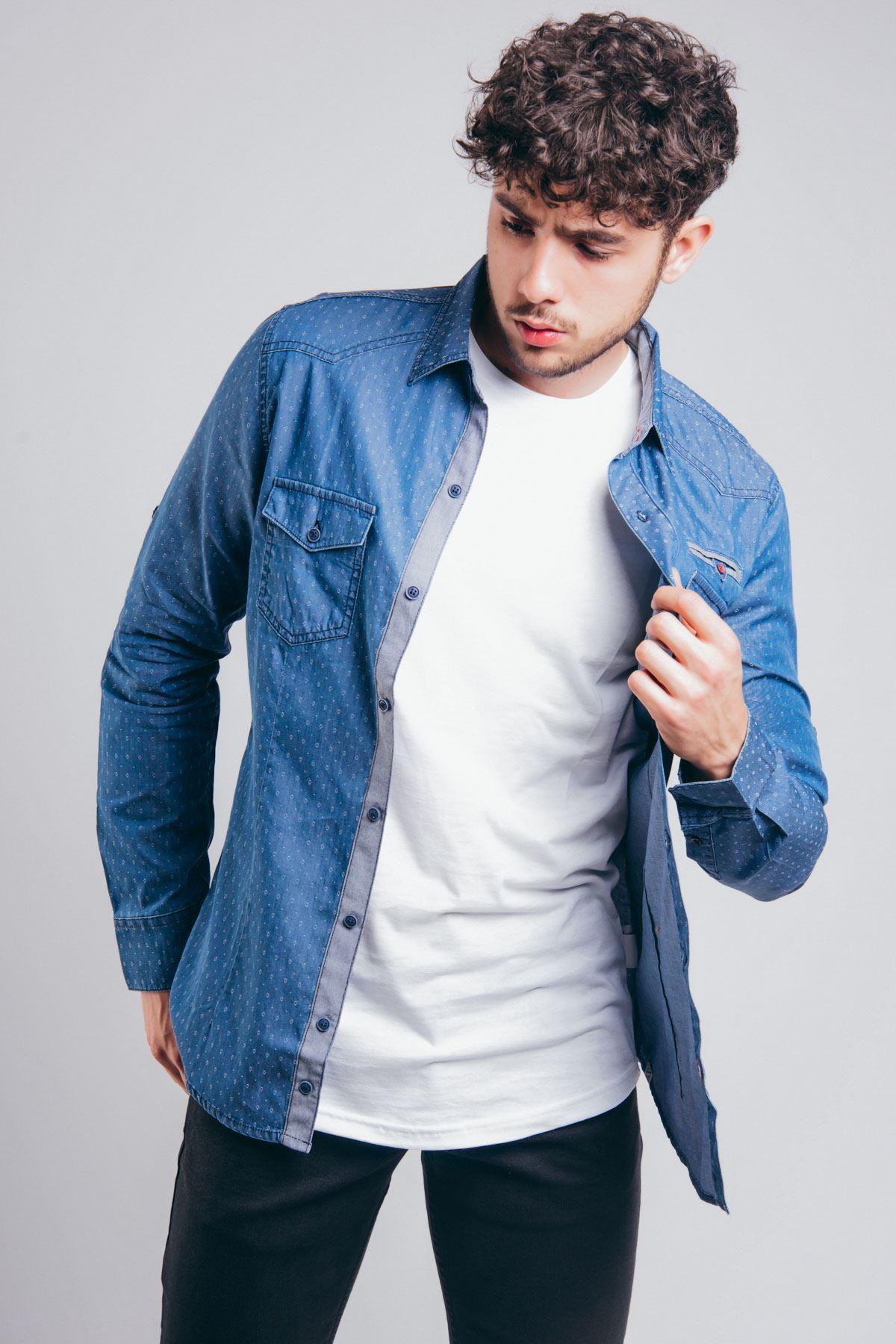 Pitikare Cep Detay Mavi Erkek Kot Gömlek