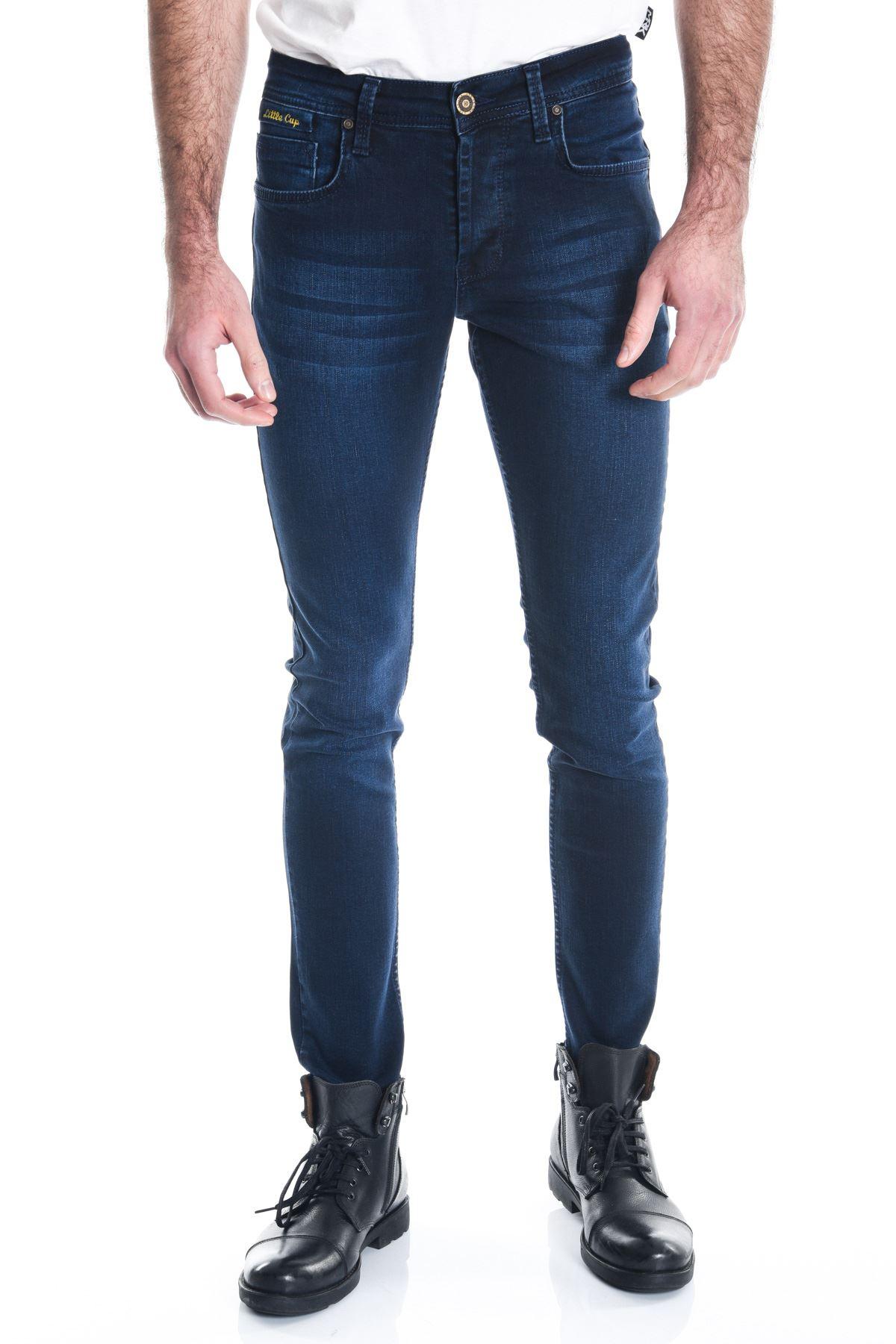 Lacivert Taşlamalı Erkek Kot Pantolon
