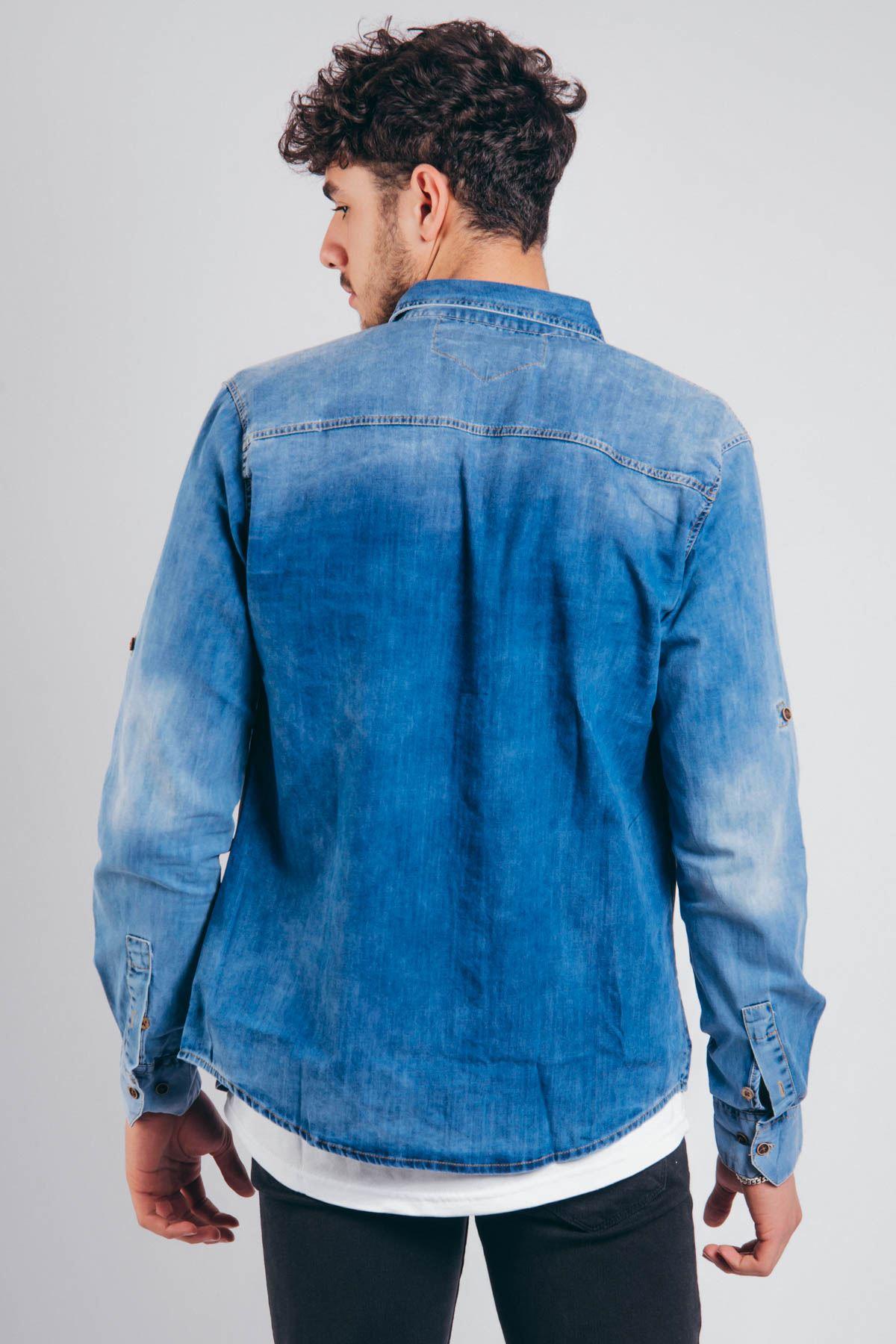Mavi Randım Yıkama Erkek Kot Gömlek