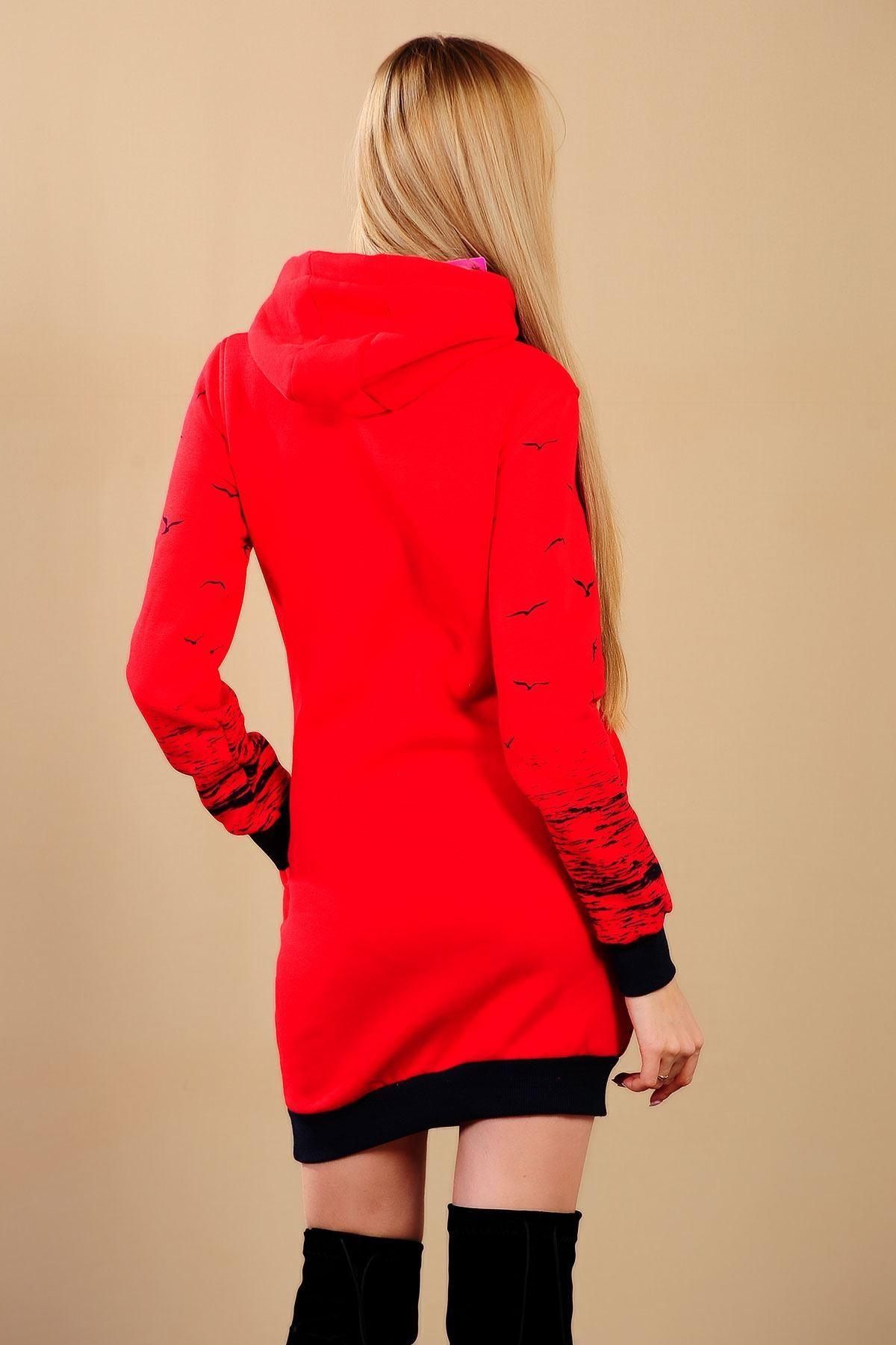 Martı Desen Kırmızı Bayan Sweat