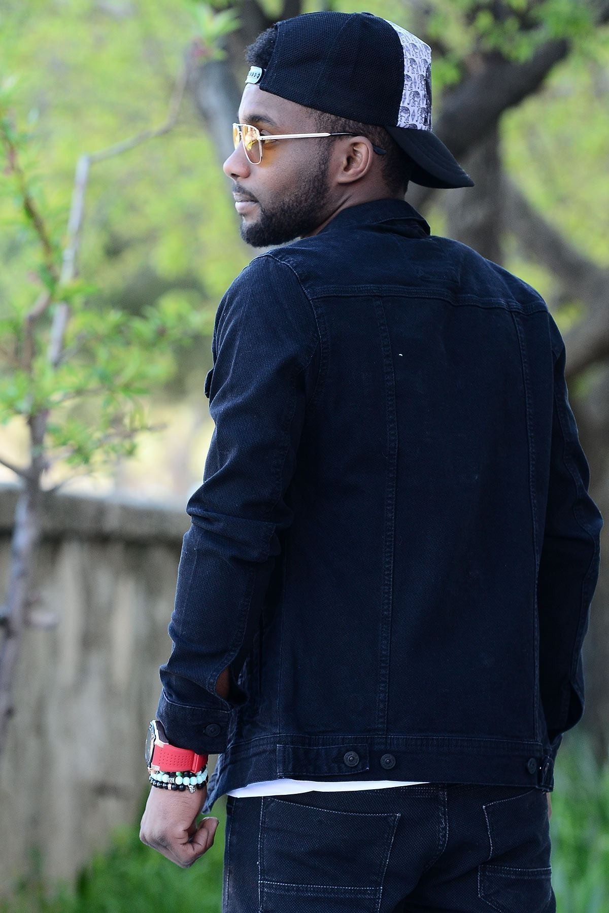 Petek Doku Çift Cep Siyah Erkek Kot Ceket
