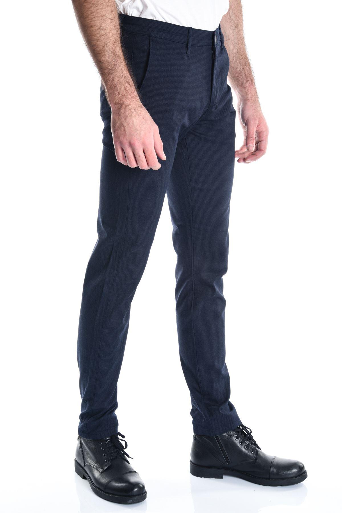 Lacivert Desenli Chino Erkek Pantolon