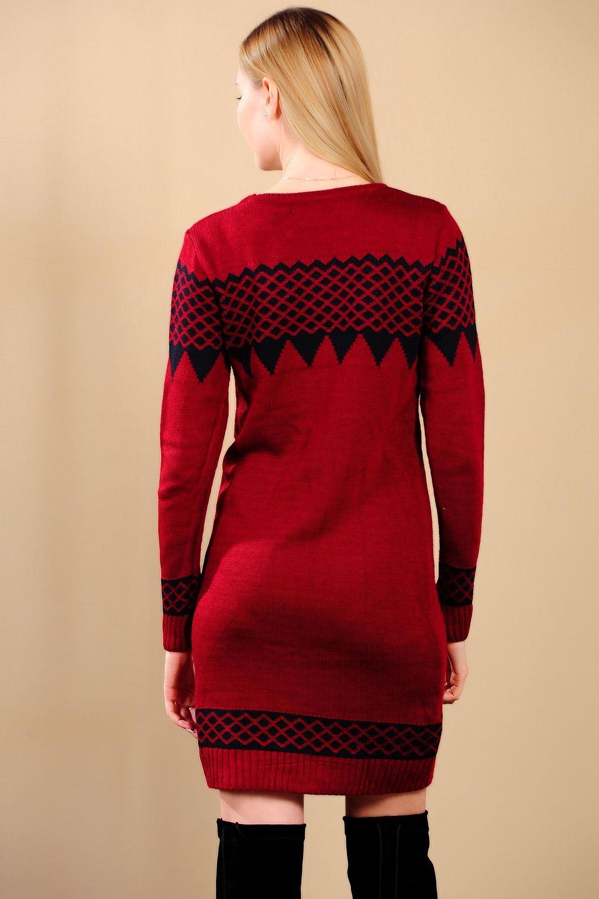 Siyah Desen Detay Kırmızı Bayan Triko