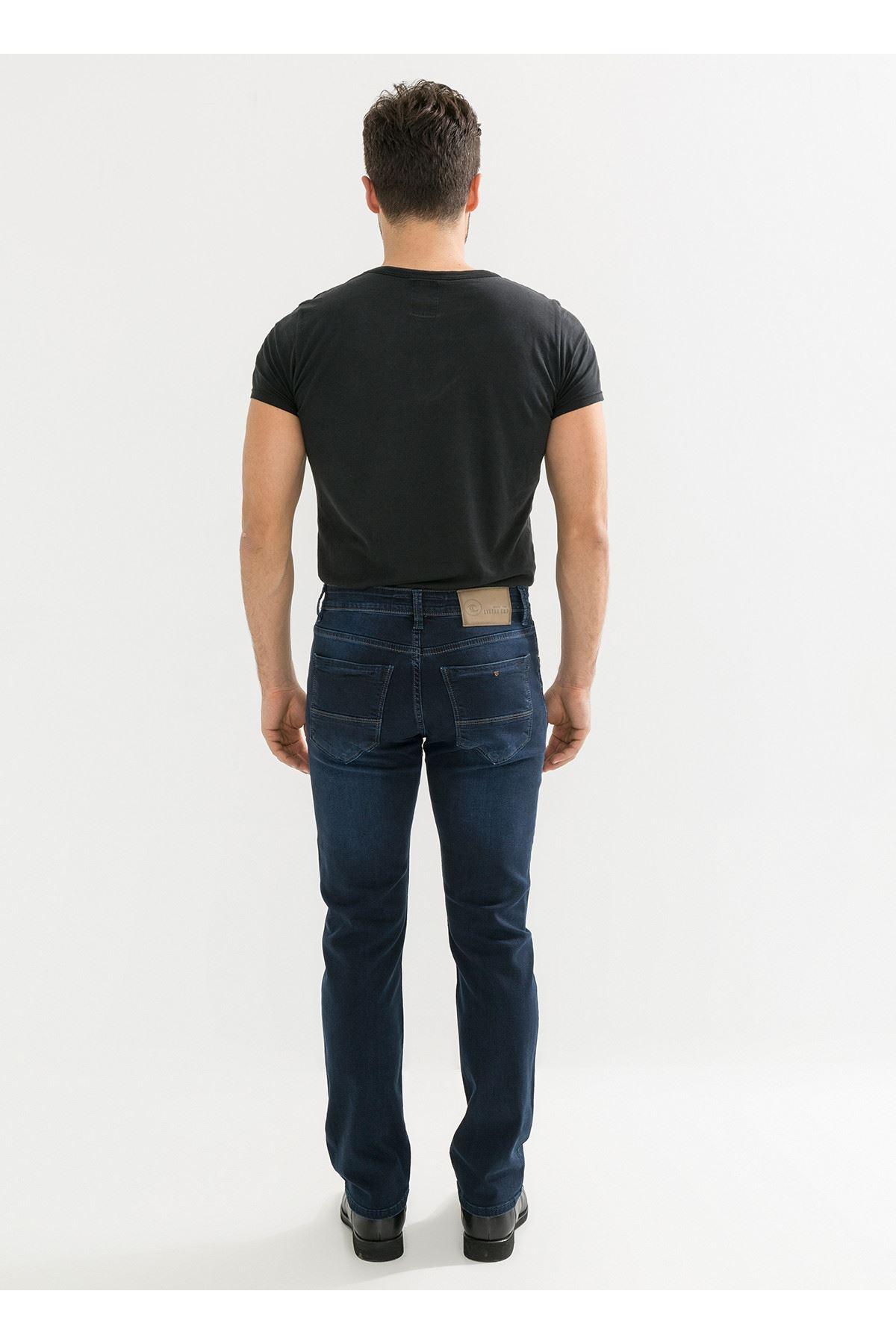 Lacivert Yıkamalı Regular Erkek Kot Pantolon