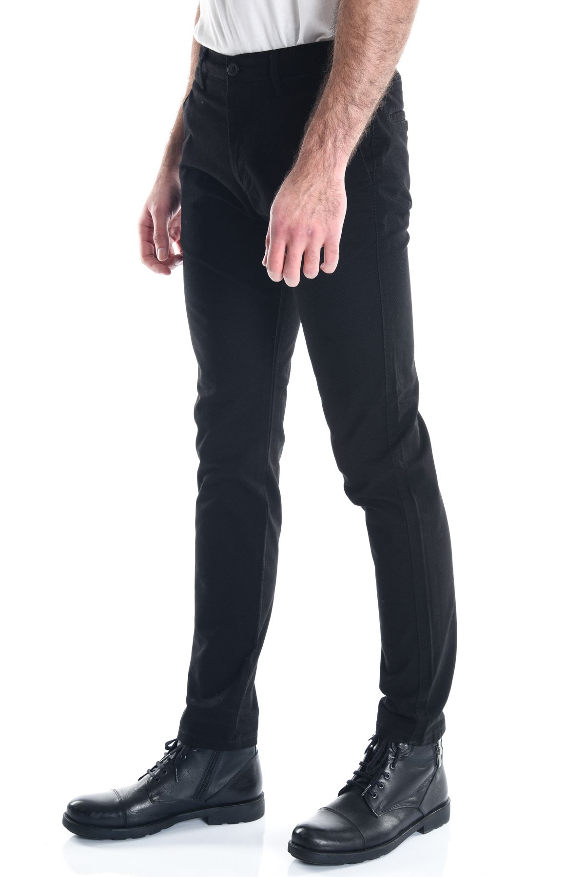 Siyah Armür Desenli Chino Erkek Pantolon
