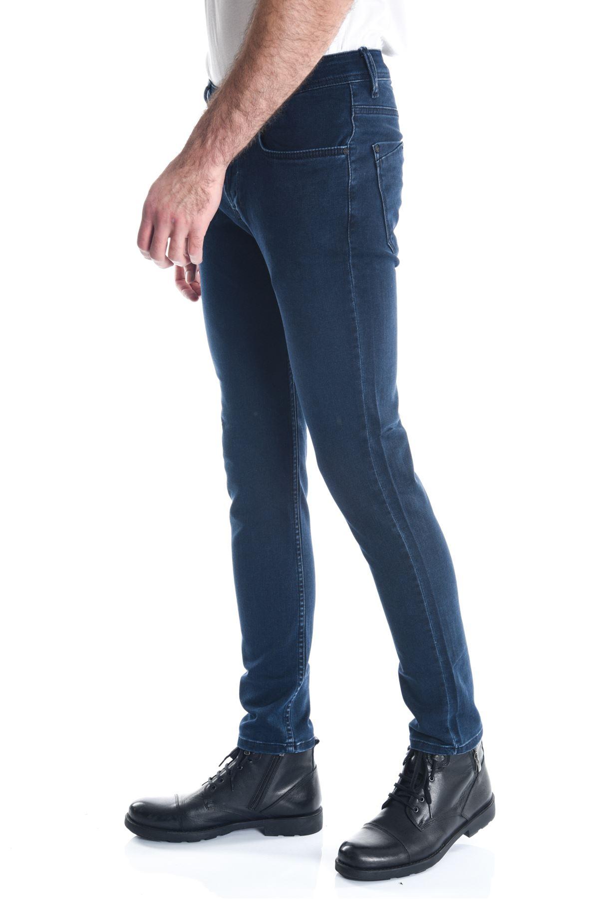 Lacivert Sade Armürlü Yeni Slimfit Erkek Kot Pantolon