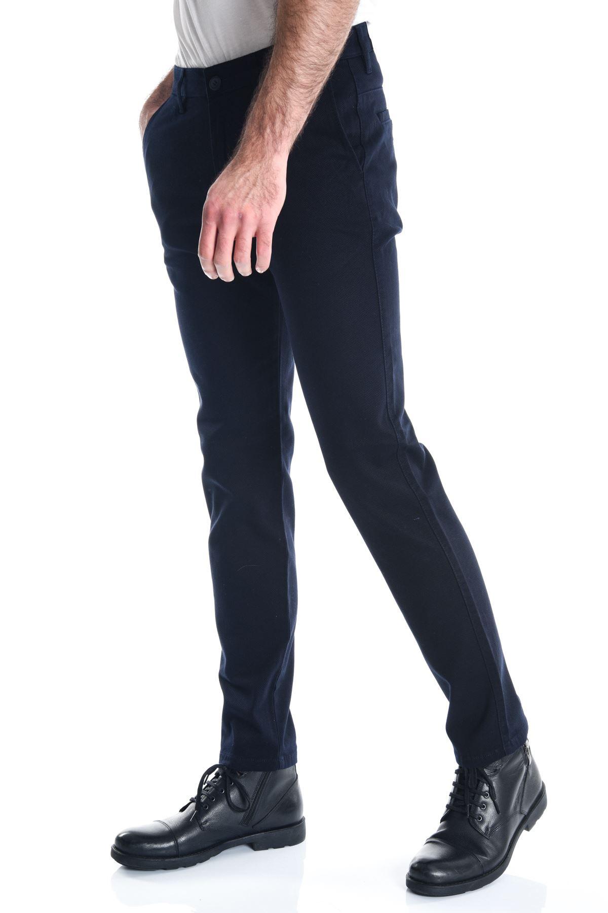 Lacivert Petek Dokuma Chino Erkek Pantolon