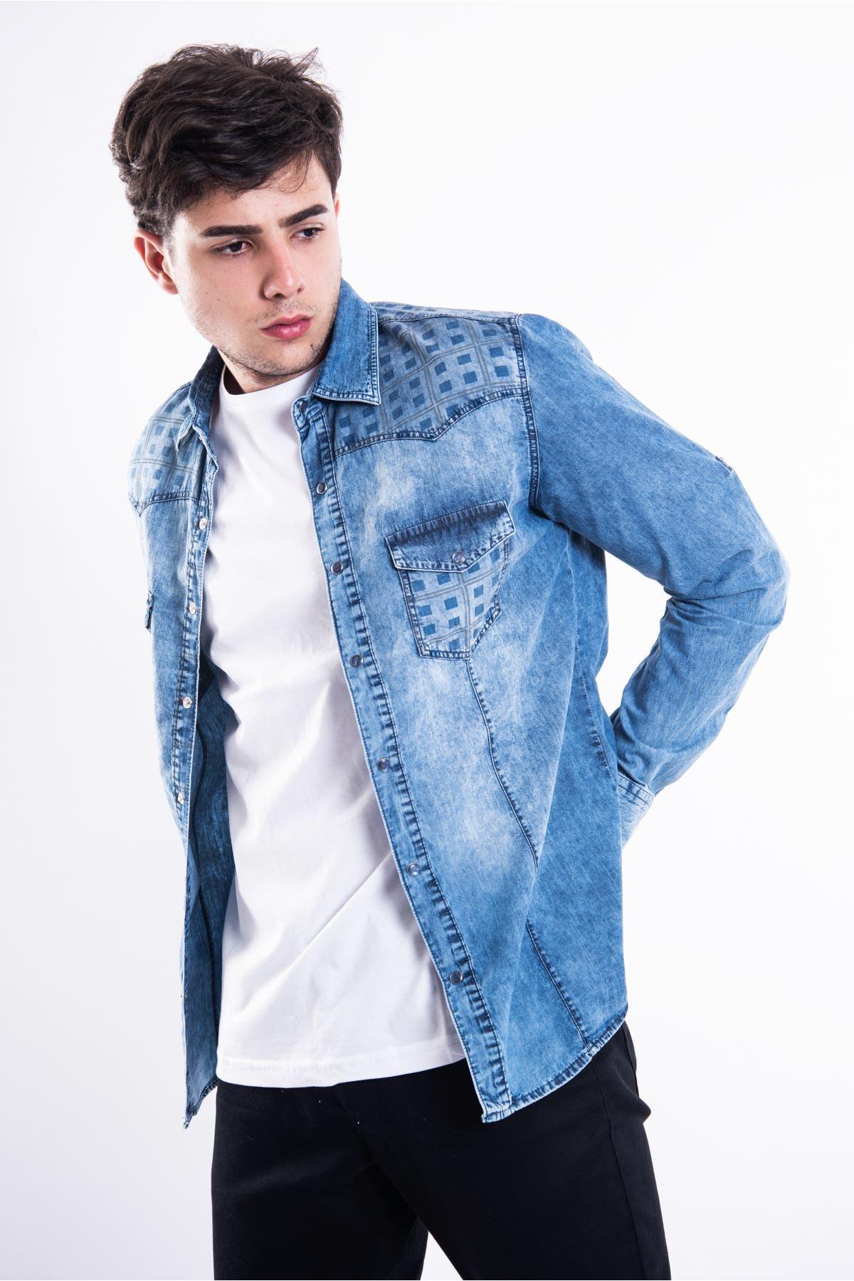 Mavi Kare Detay Erkek Kot Gömlek