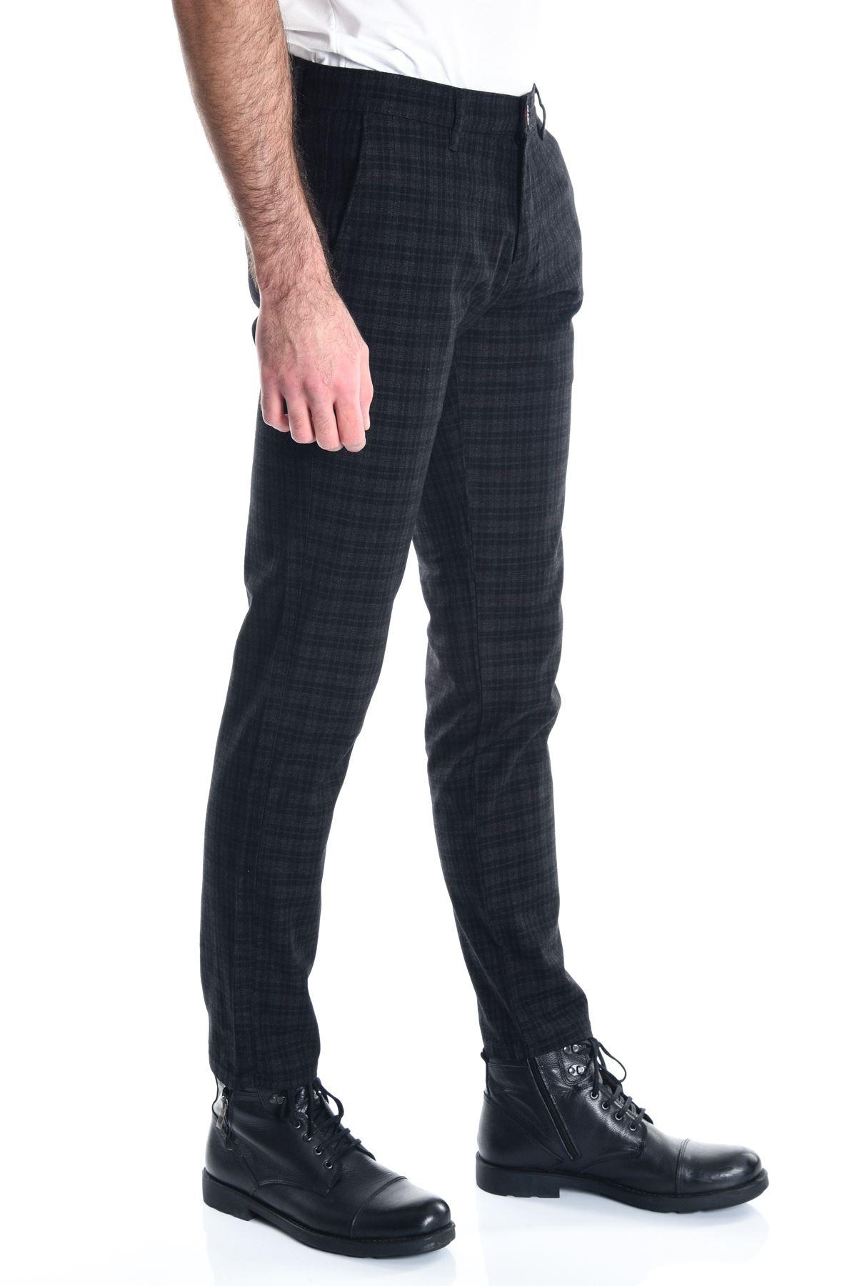 Siyah Ekose Slimfit Chino Erkek Pantolon