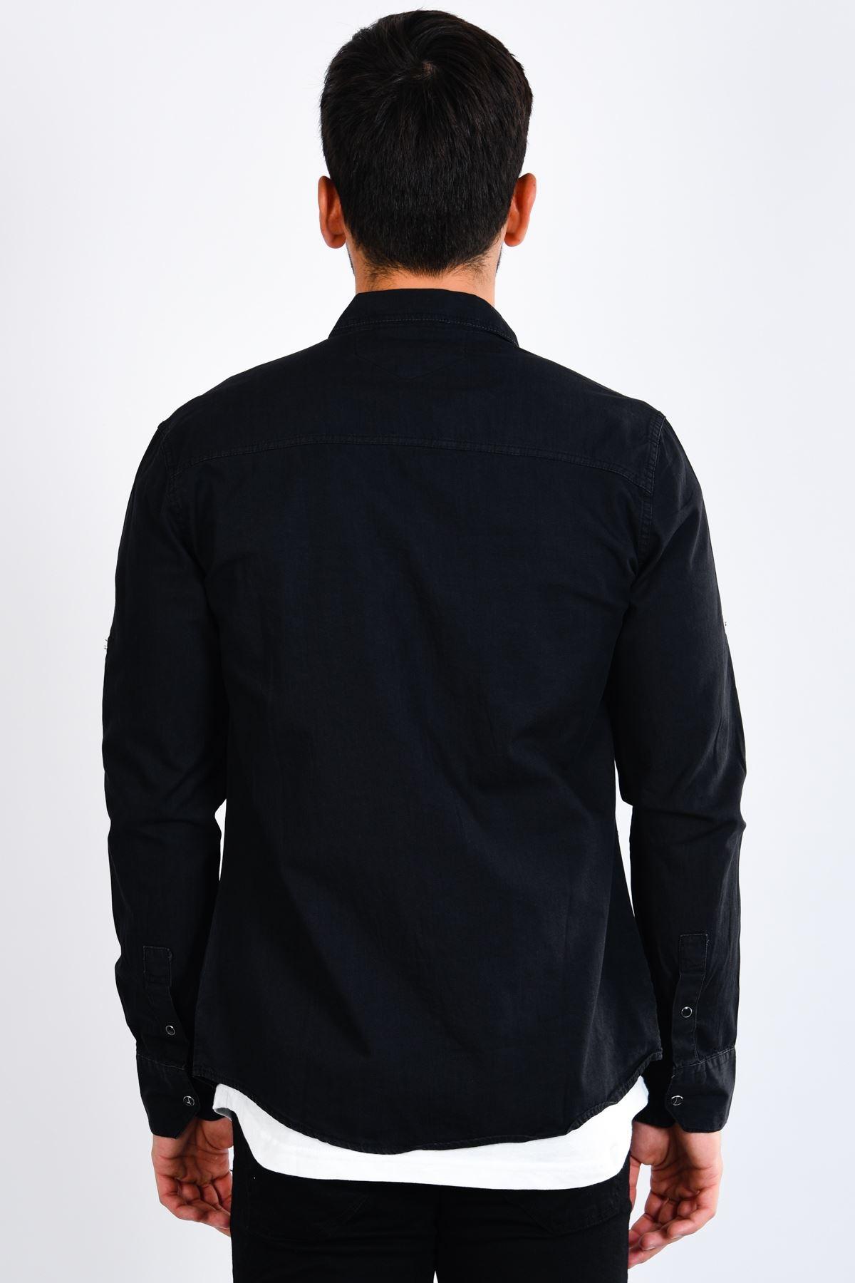 Siyah Erkek Kot Gömlek