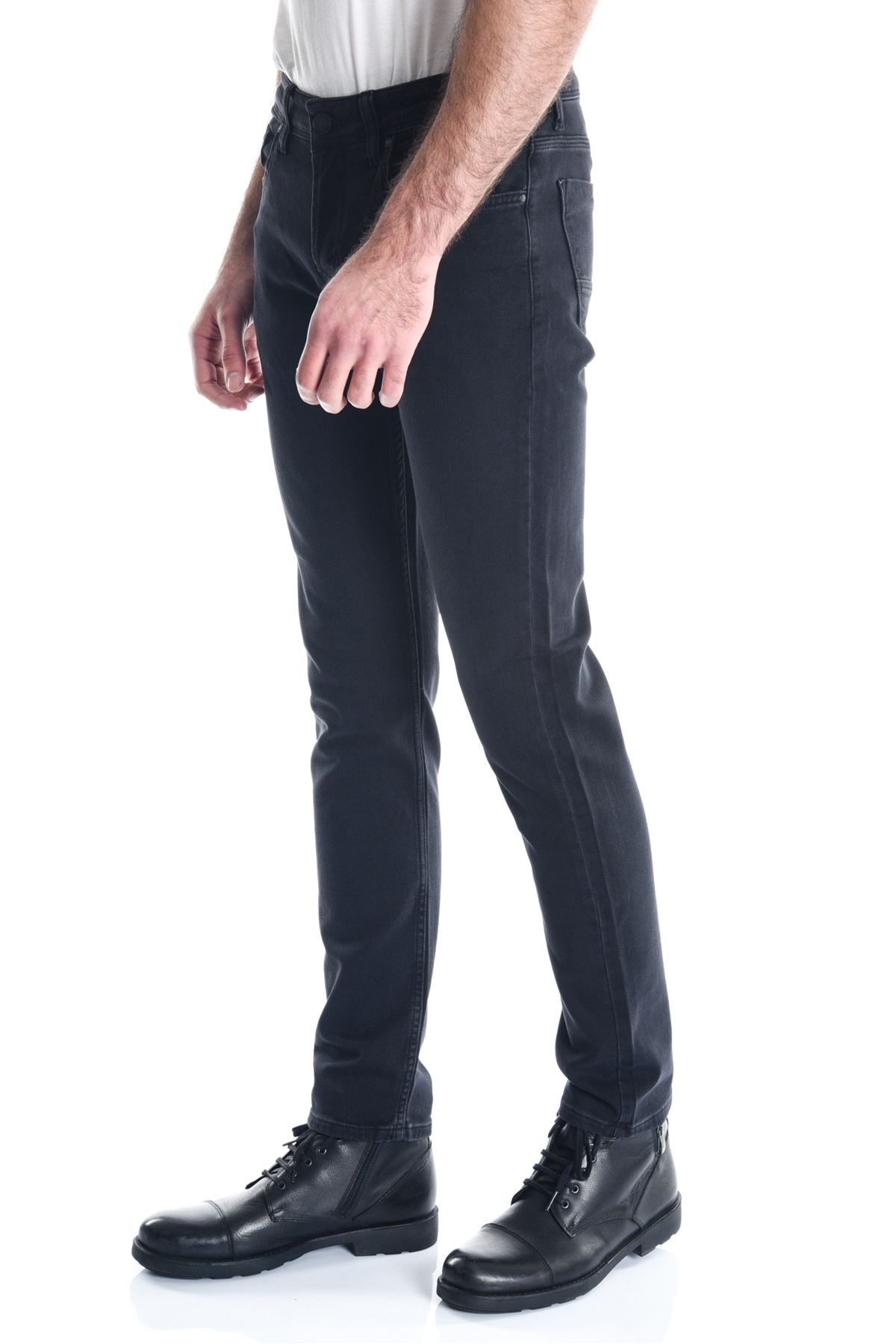 Siyah Sade Armürlü Örme Erkek Kot Pantolon
