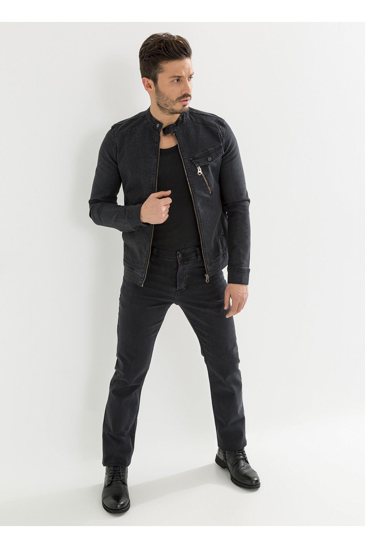 Siyah Örme Kumaş Erkek Kot Pantolon