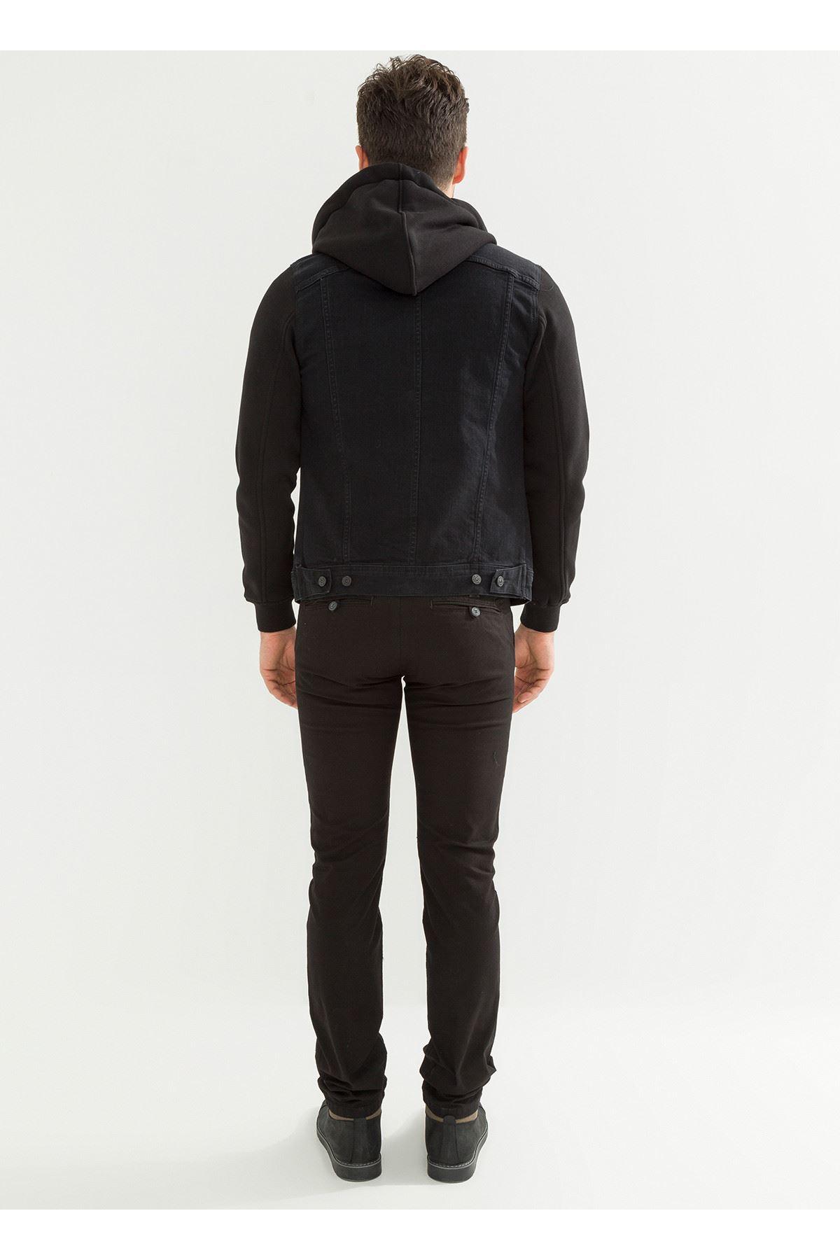 Siyah Slim Fit Chino Erkek Pantolon