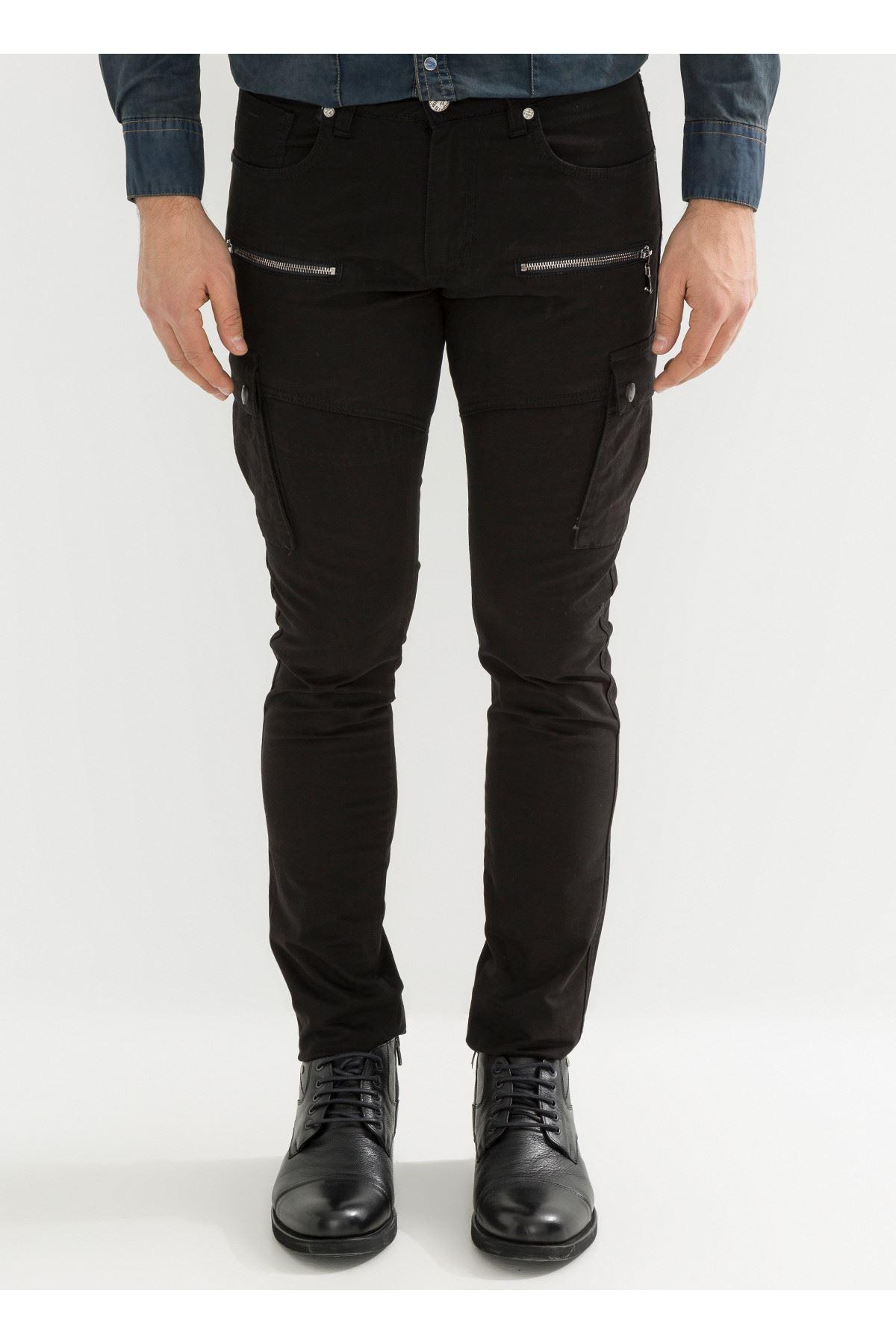 Siyah Fermuarlı Kargo Erkek Pantolon