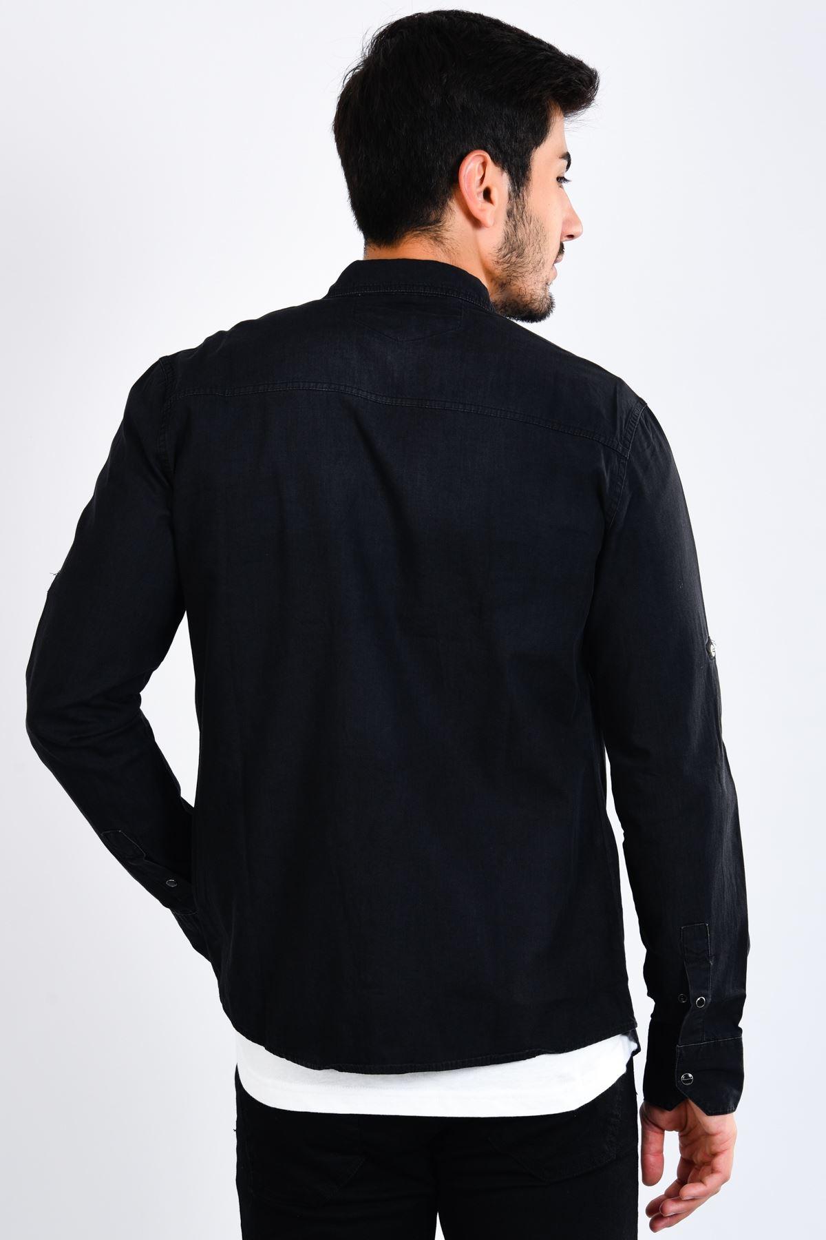 Siyah Erkek Kot Gömlek Yıkamalı