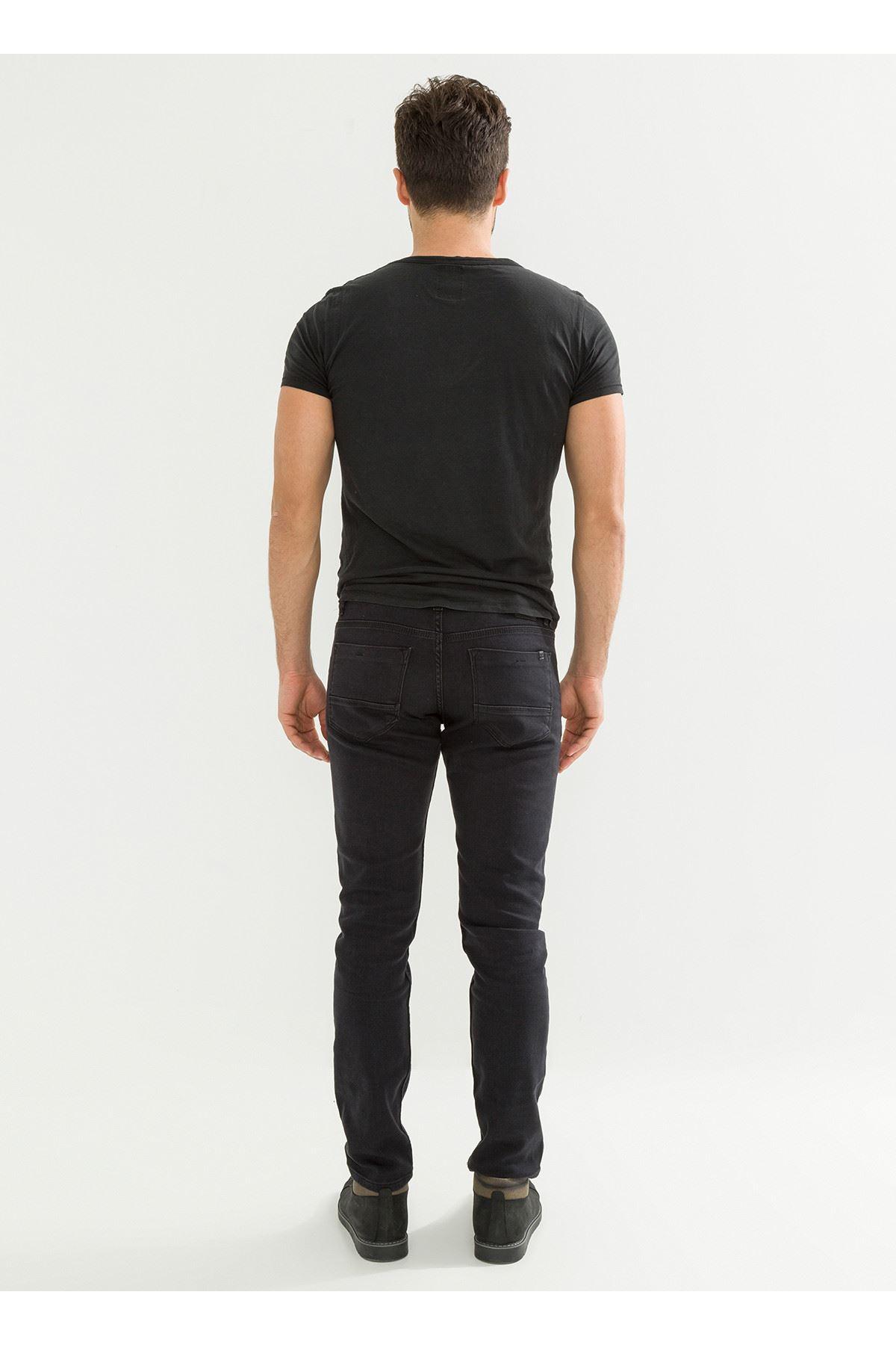 Yeni Sezon Siyah Örme Erkek Kot Pantolon