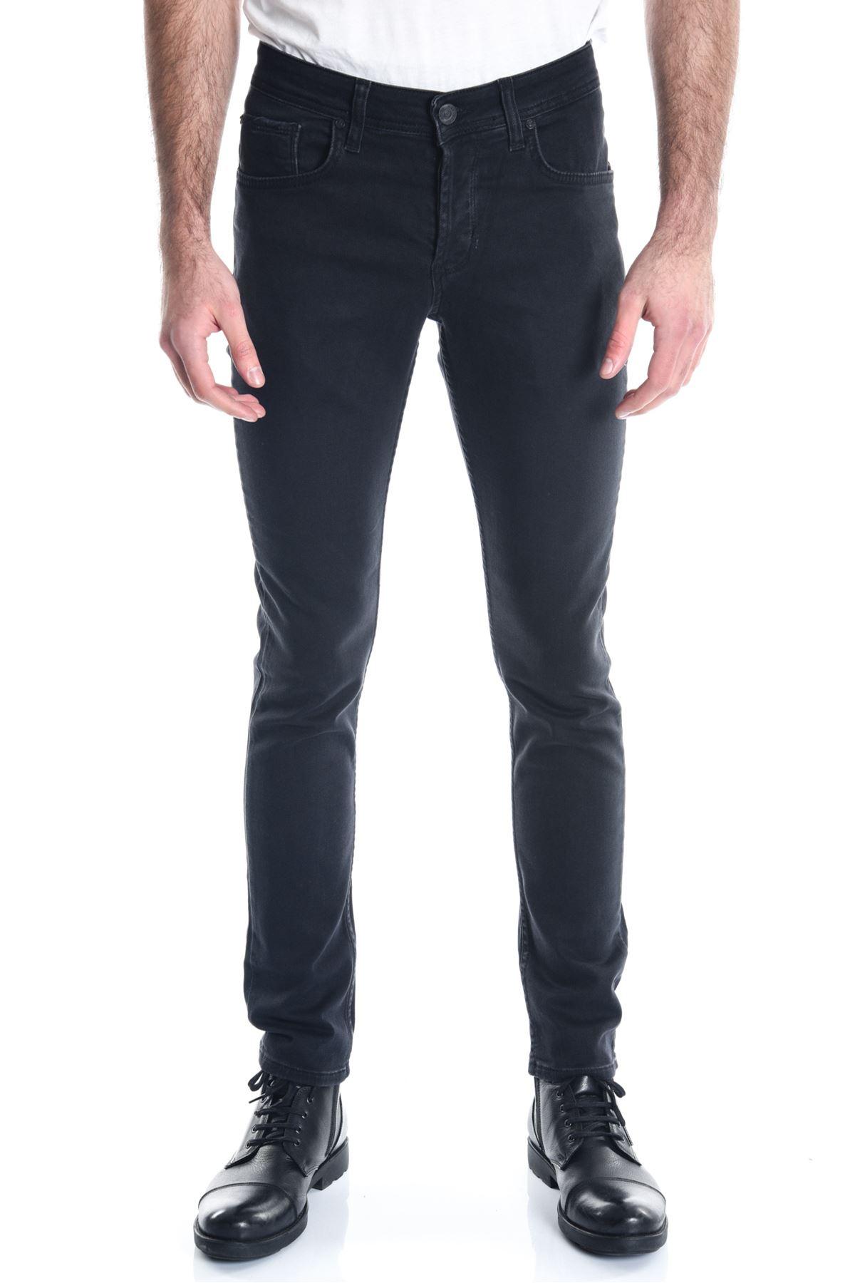 Siyah Sade Örme Armürlü Erkek Kot Pantolon