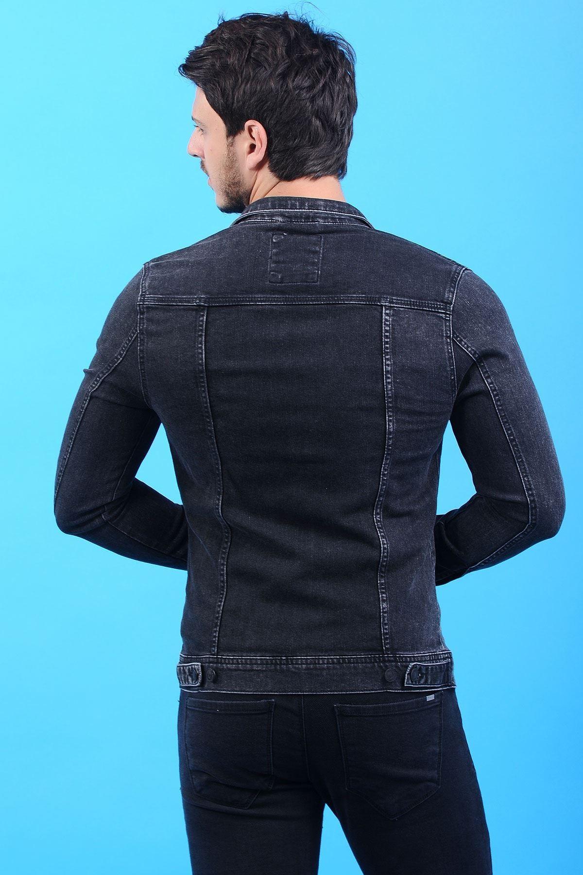 Yıkamalı Siyah Erkek Kot Ceket