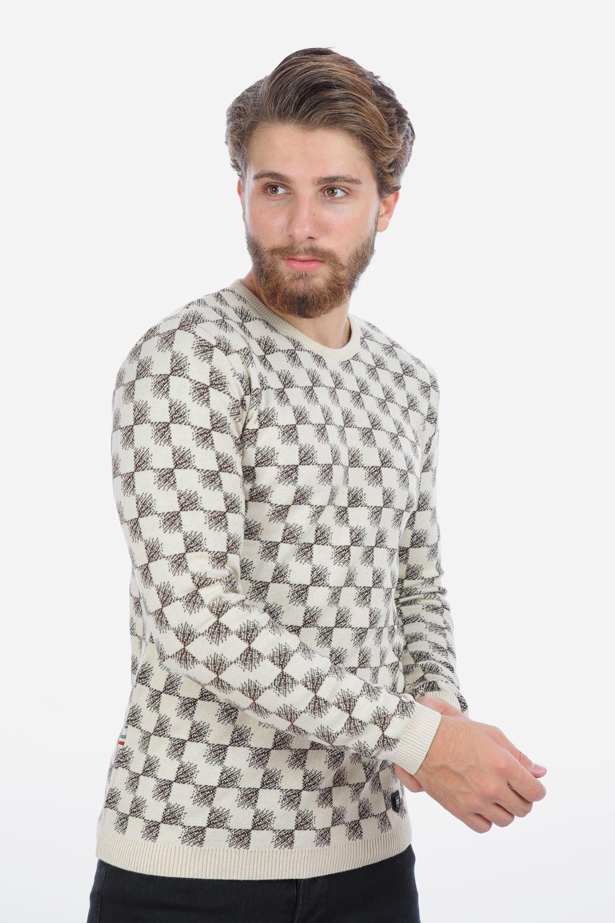 Erkek Desenli Kazak Triko Ekru