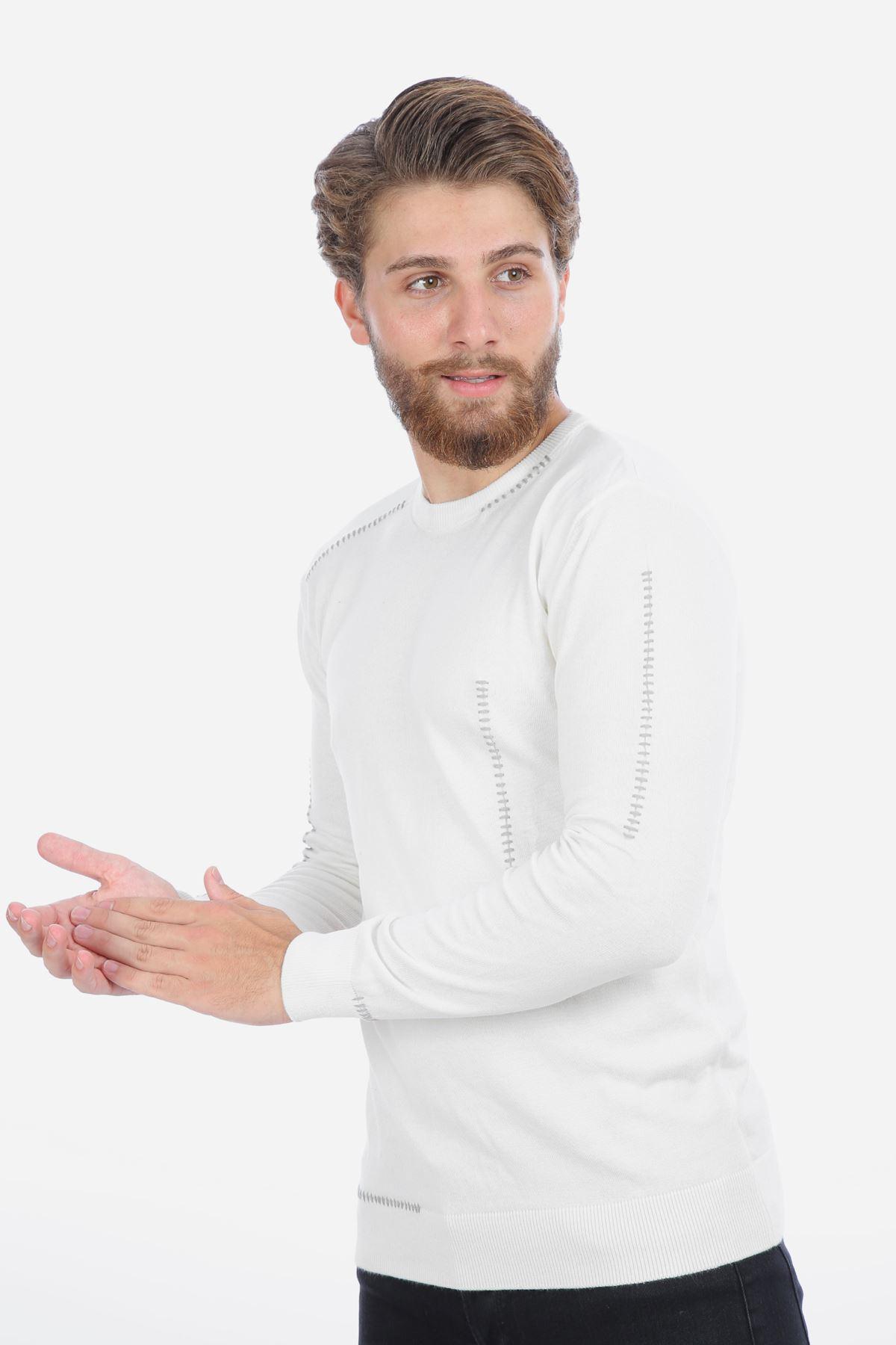 Erkek Taş Bisiklet Yaka Triko Beyaz