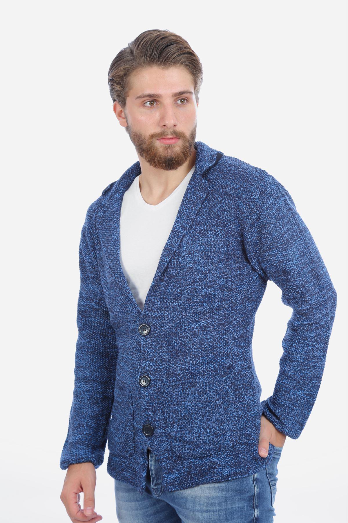 Erkek  Mavi Triko Ceket