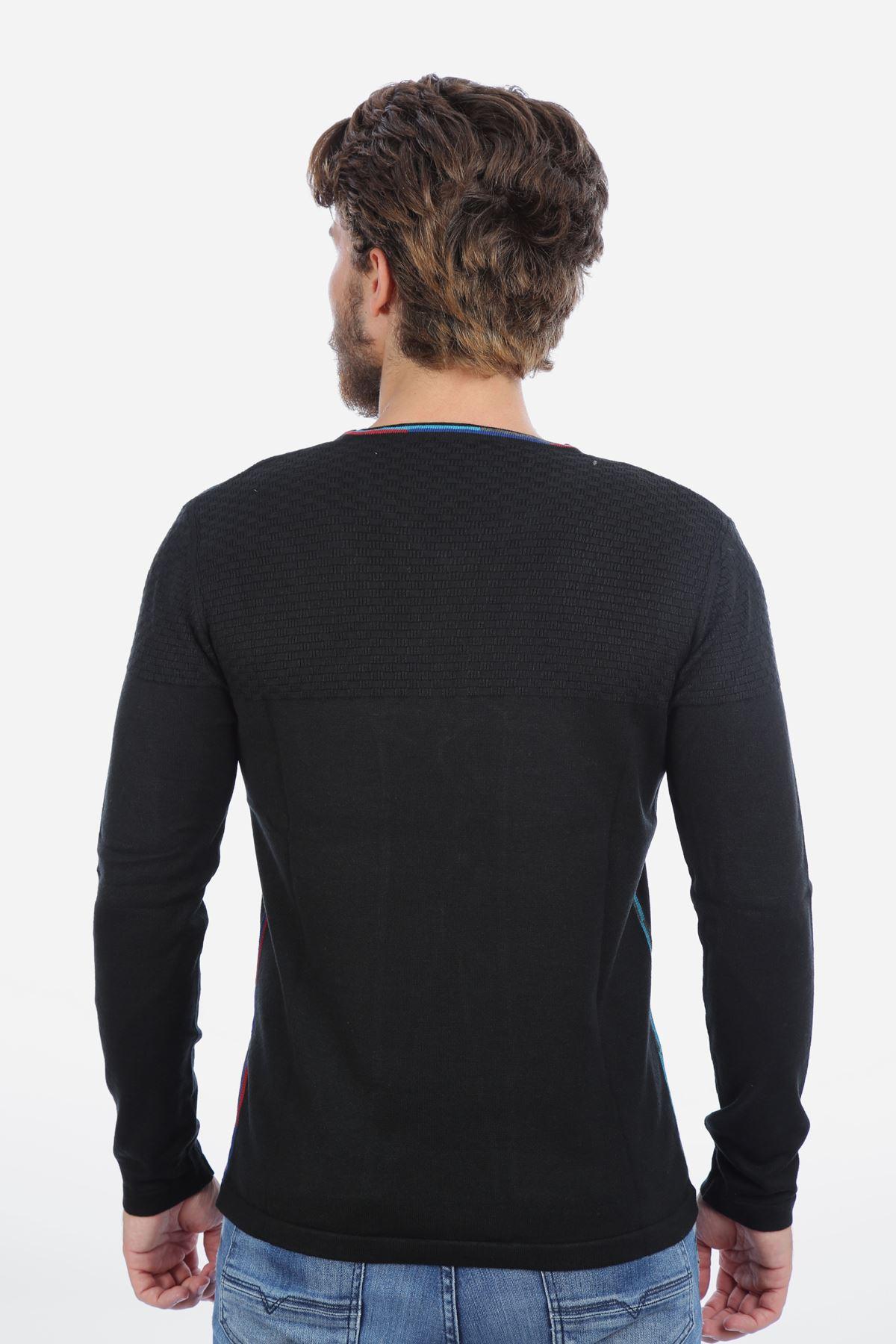 Erkek V Yaka Siyah Triko Kazak Yeni