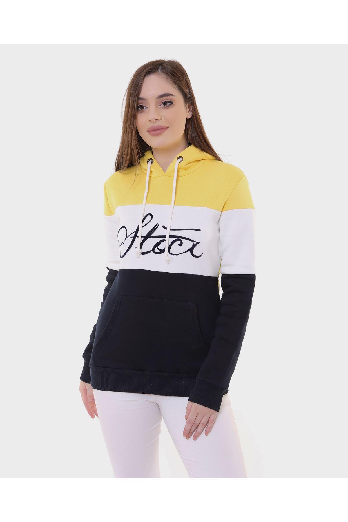 3 Renk Siyah Sarı Bayan Sweat