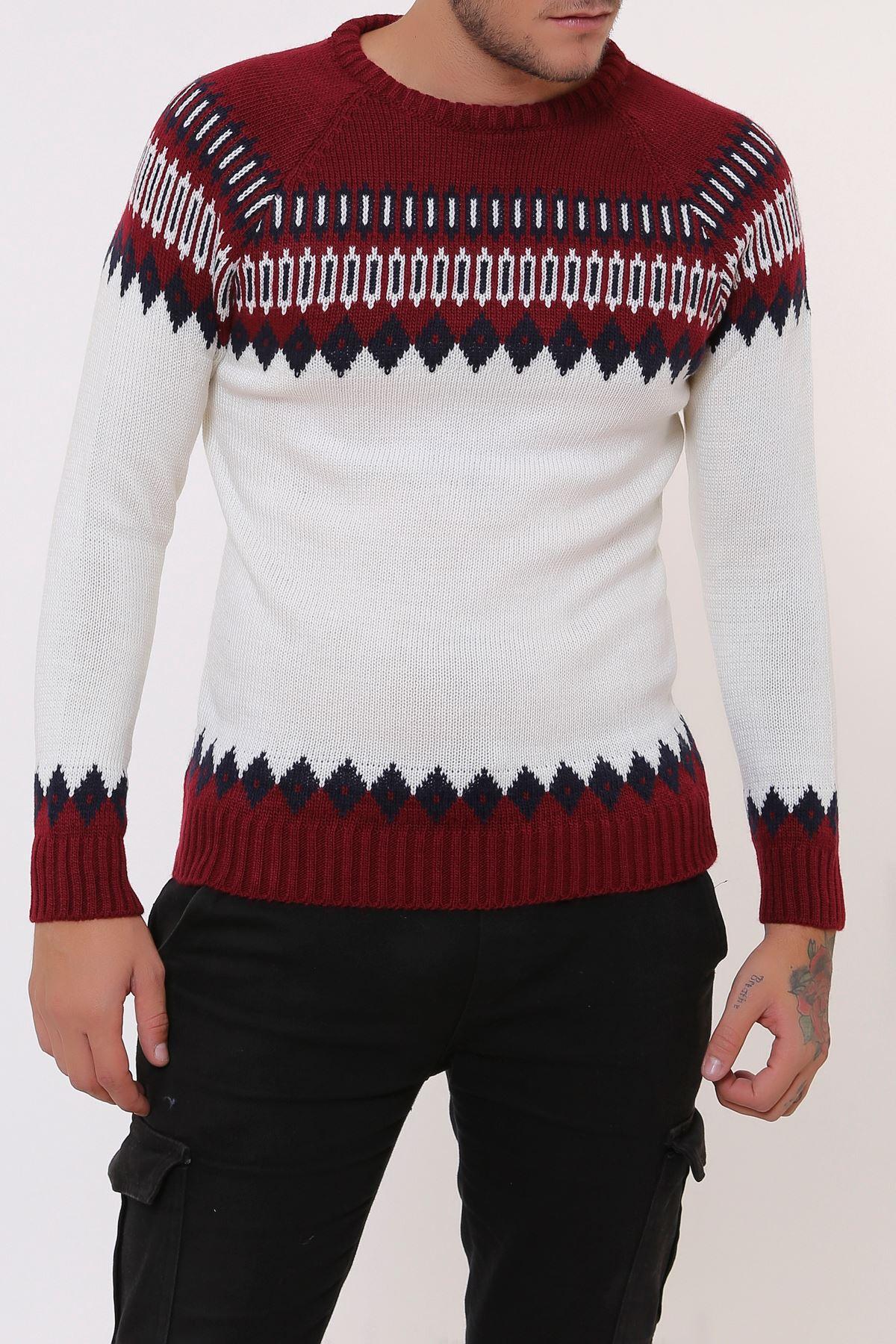 Desenli Kırmızı Beyaz Triko Erkek