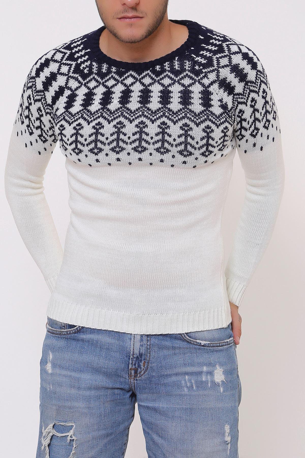 Lacivert Desenli Beyaz Triko Erkek