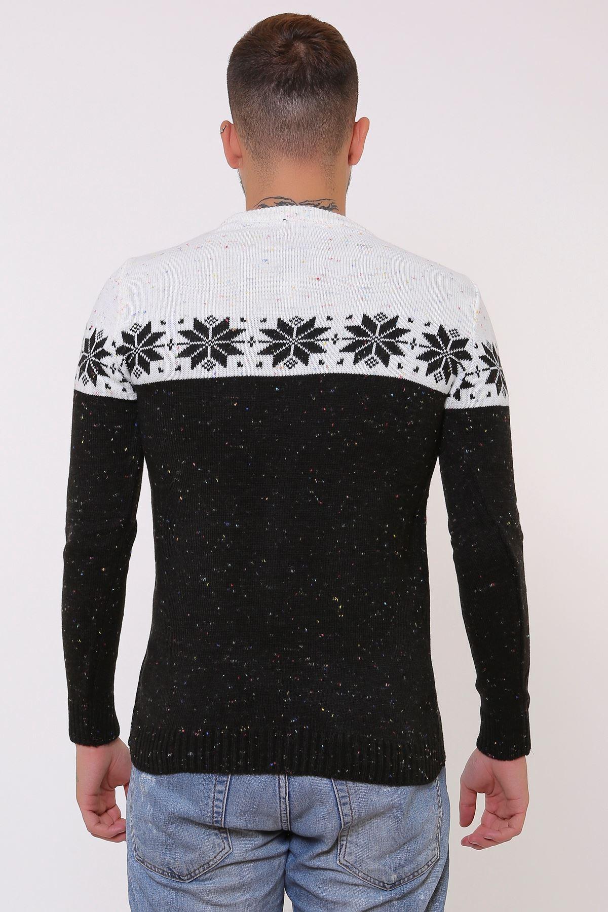 Erkek Siyah Beyaz Desenli Triko Kazak
