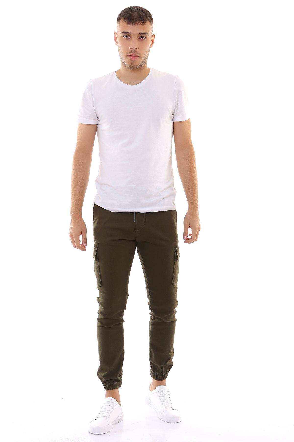 Beli İpli Paçası Lastikli Likralı Keten Kargo Haki Pantolon