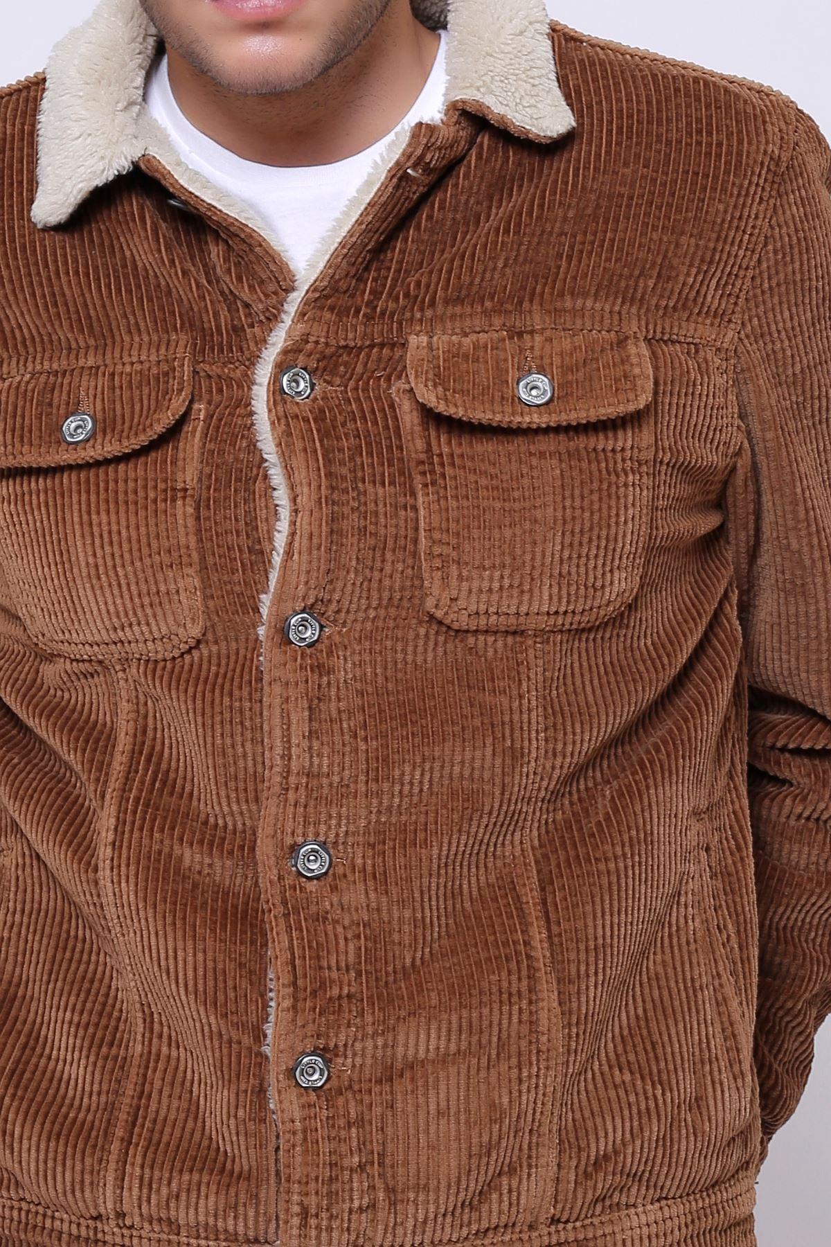 Kalın Fitil Kadife İçi Kürklü Düğmeli Camel Ceket