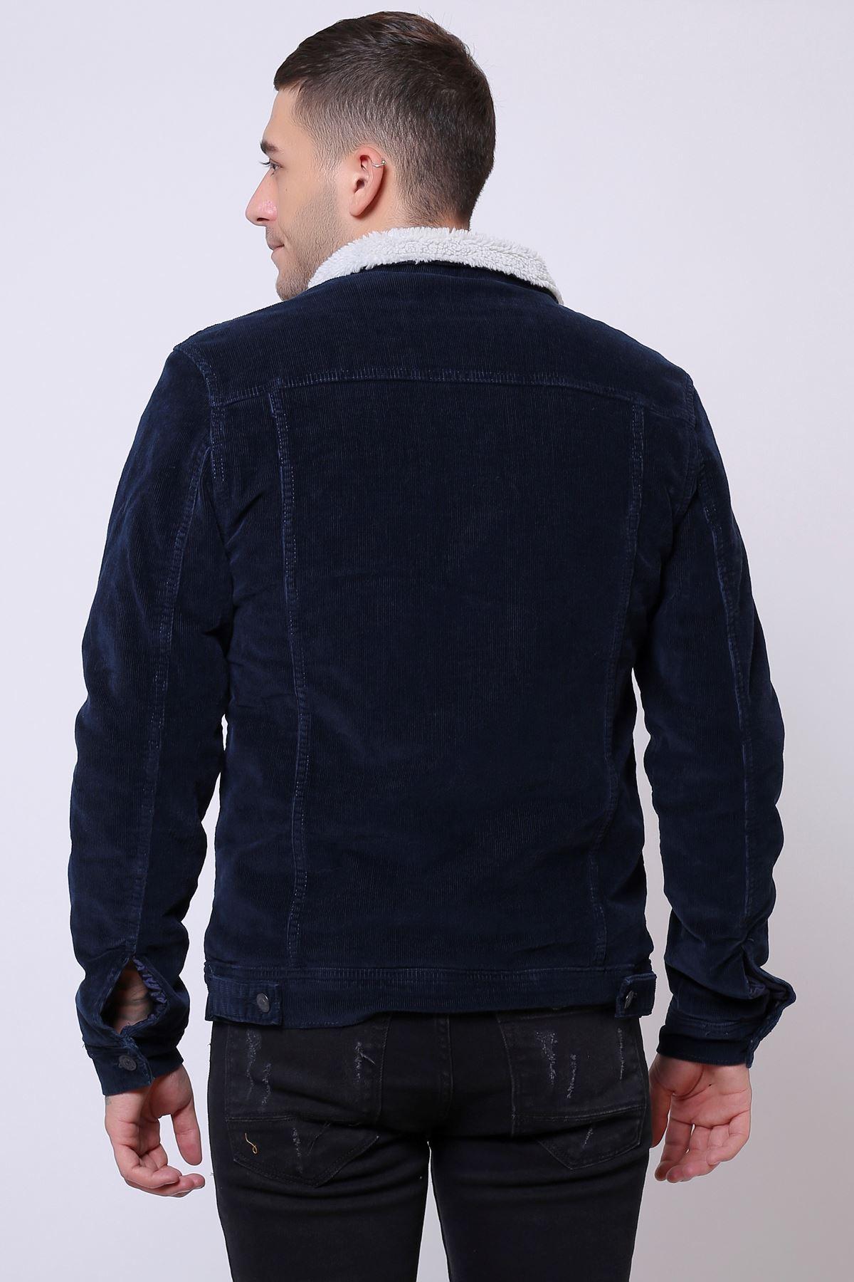 İnce Fitil Kadife İçi Kürklü Düğmeli Navy Ceket