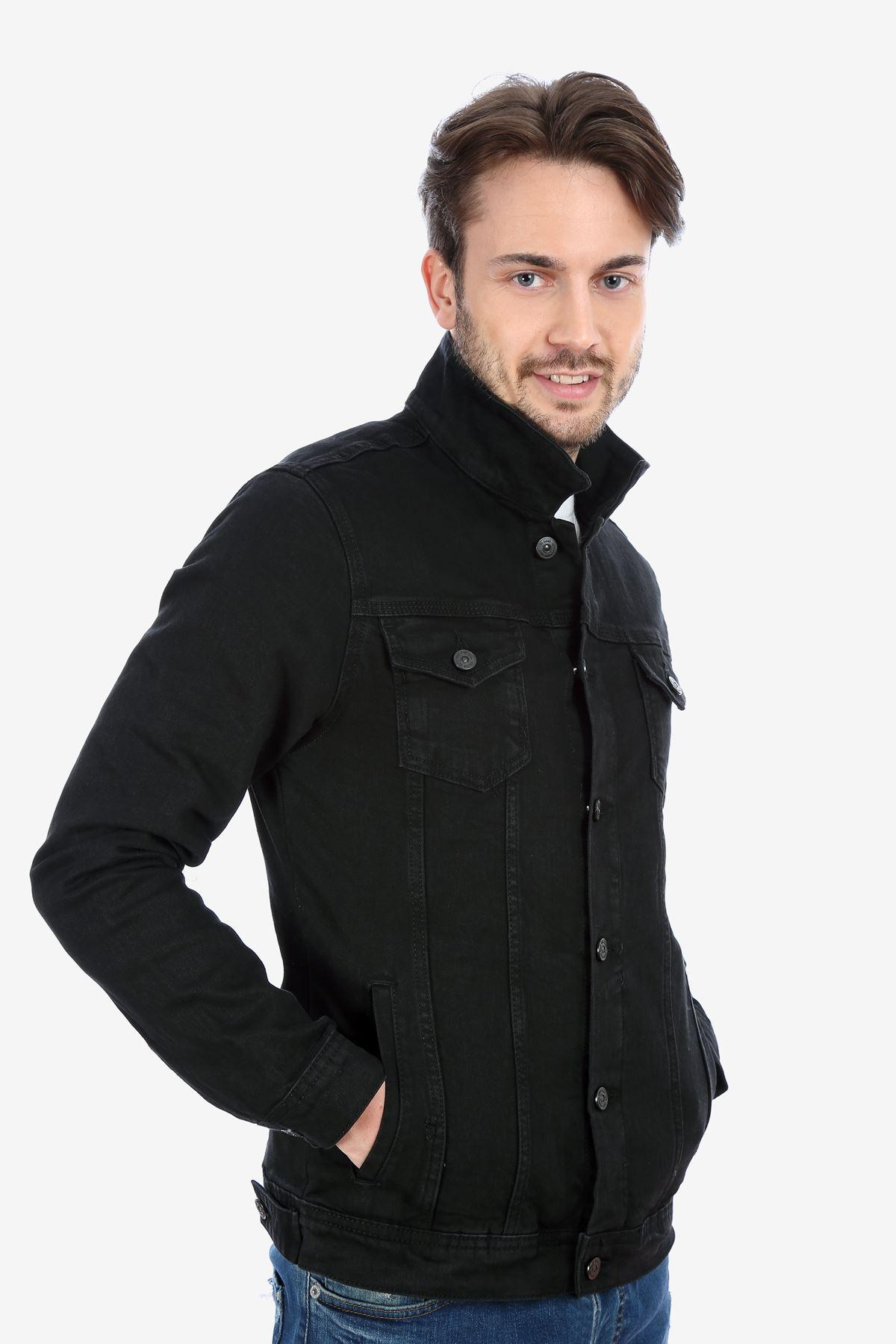 Çift Cep Düğmeli Yakalı Siyah Erkek Kot Ceket