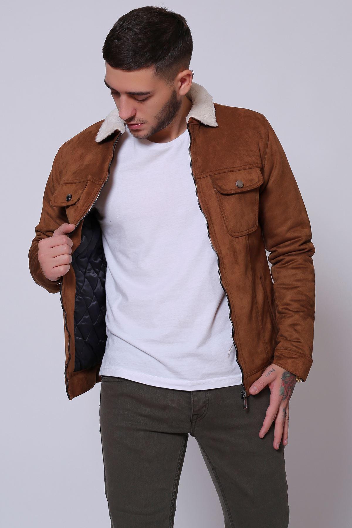 Fermuarlı Süet Kürklü Taba Erkek Ceket