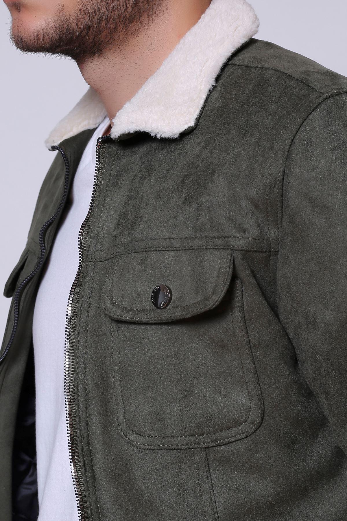 Fermuarlı Süet Kürklü Haki Erkek Ceket