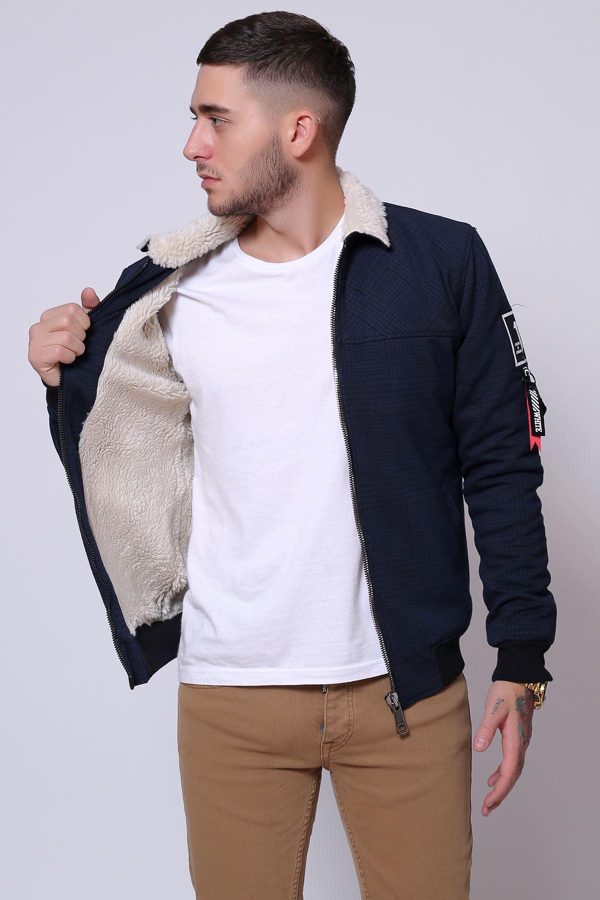 İçi Kürklü Lacivert Ekose Jakarlı Fermuarlı Ceket