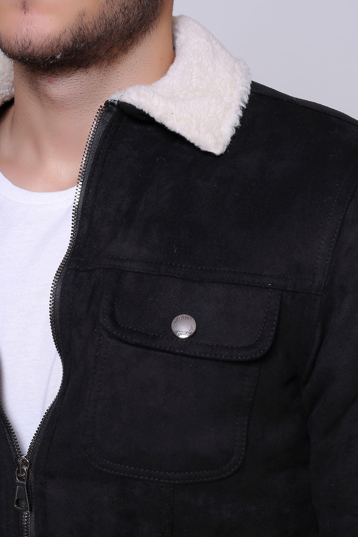 Fermuarlı Süet Kürklü Siyah Erkek Ceket