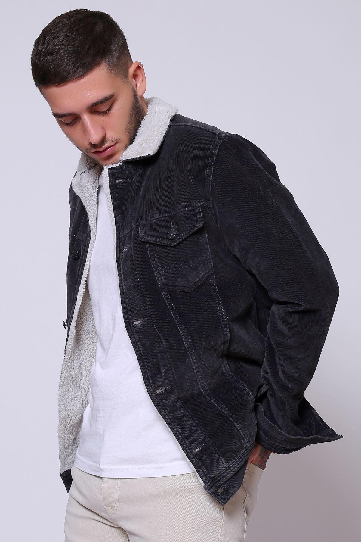 İnce Fitil Kadife İçi Kürklü Düğmeli  Siyah Ceket