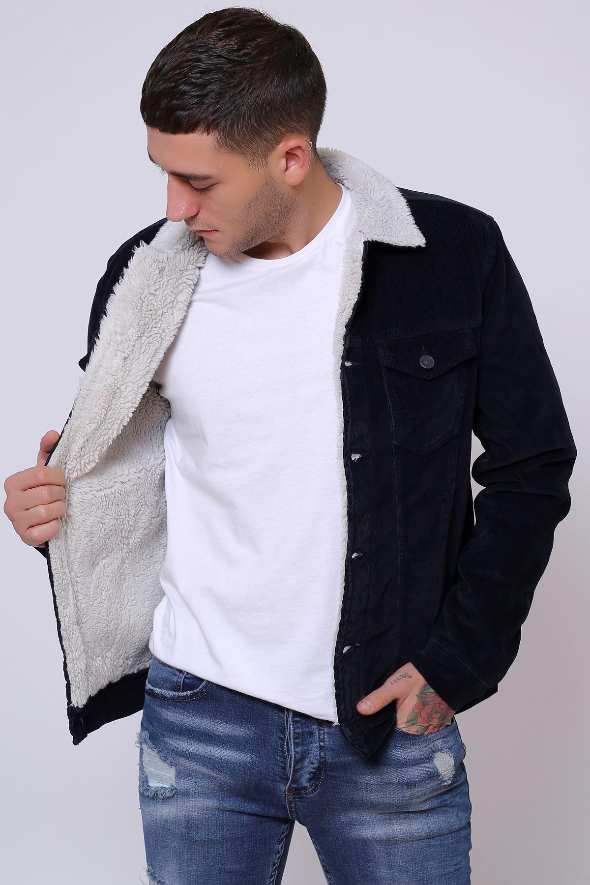 İnce Fitil Kadife İçi Kürklü Düğmeli Lacivert Ceket