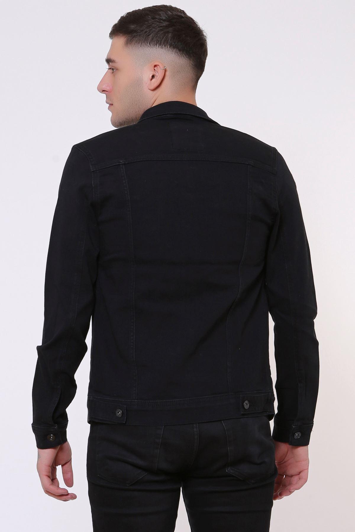 Çift Cep Fermuarlı Yakalı Siyah Erkek Kot Ceket