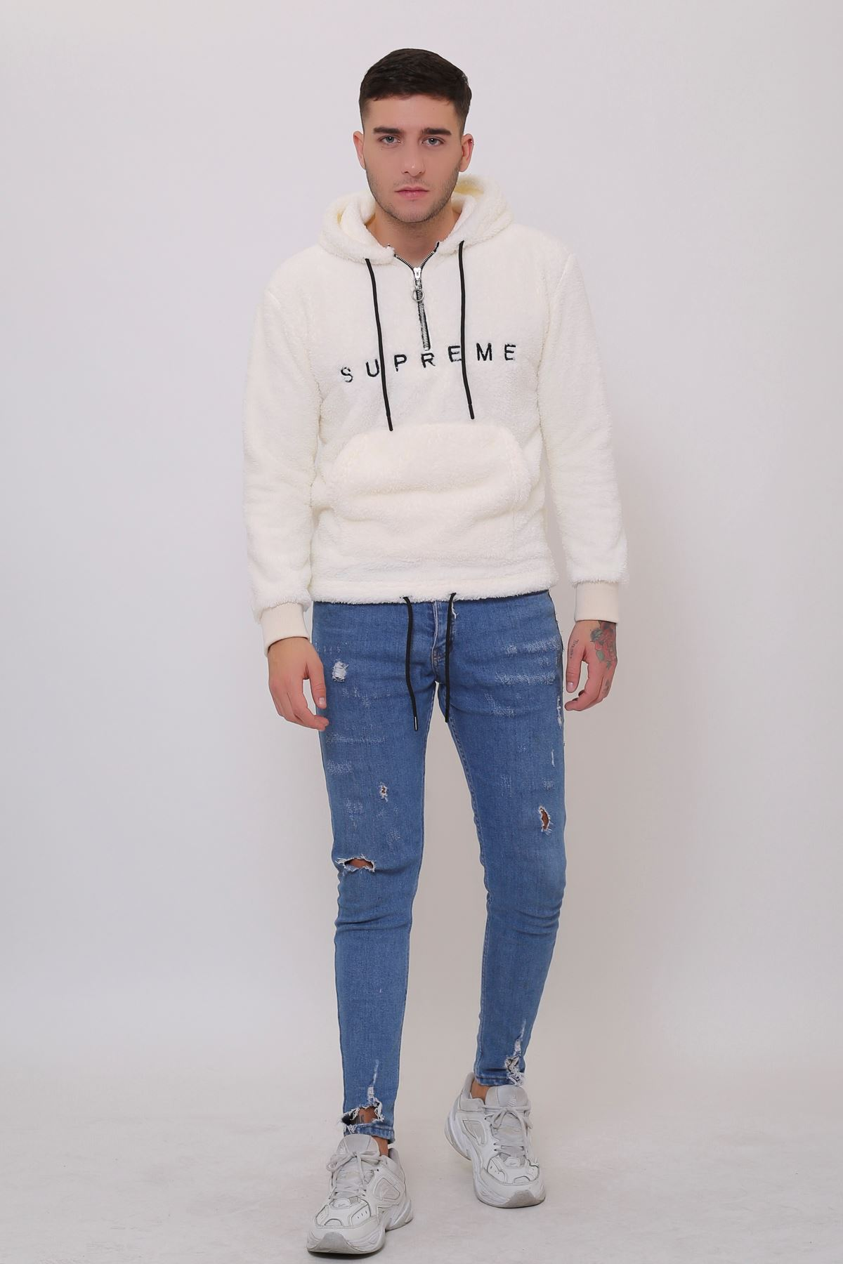 Beyaz Erkek Kanguru Cepli Kapüşonlu Fermuarlı Peluş  Sweatshirt