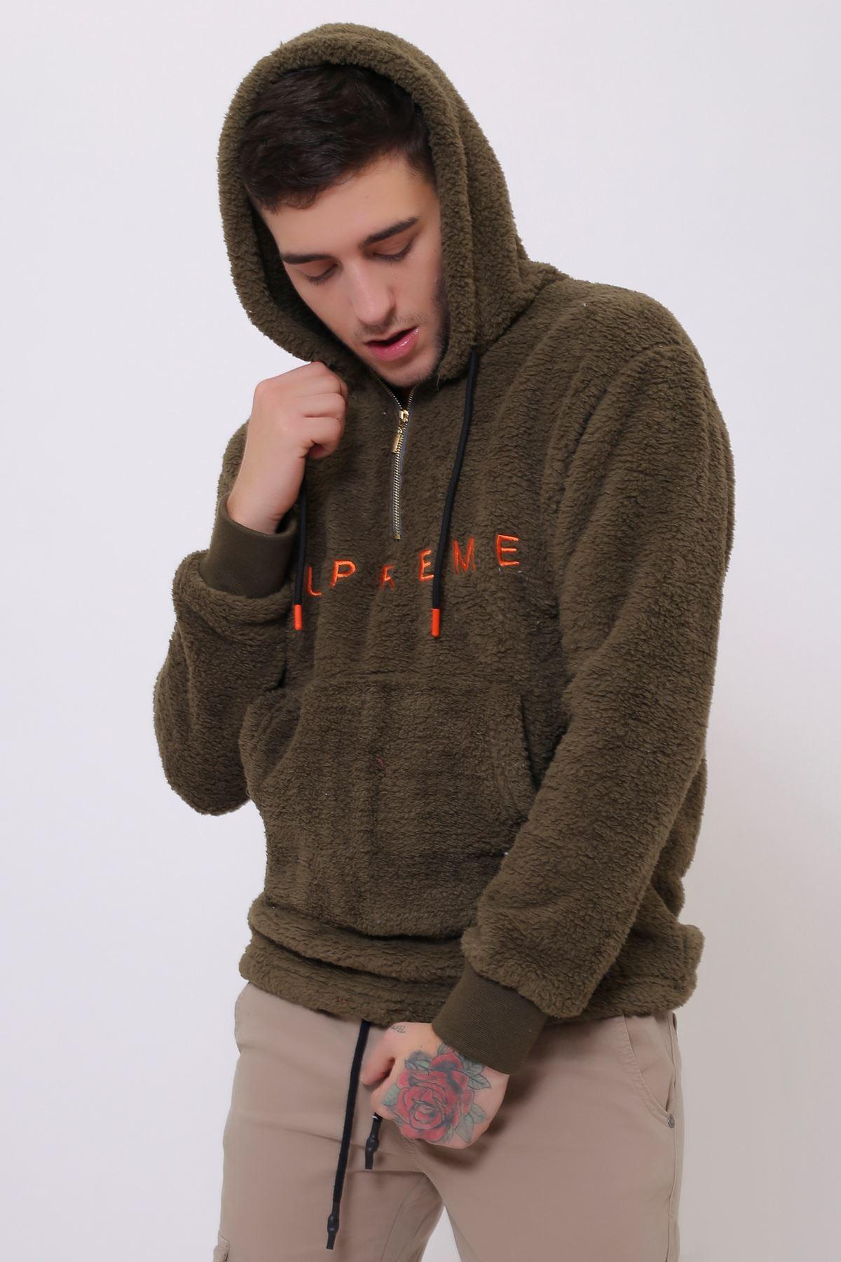 Haki Erkek Kanguru Cepli Kapüşonlu Fermuarlı Peluş  Sweatshirt