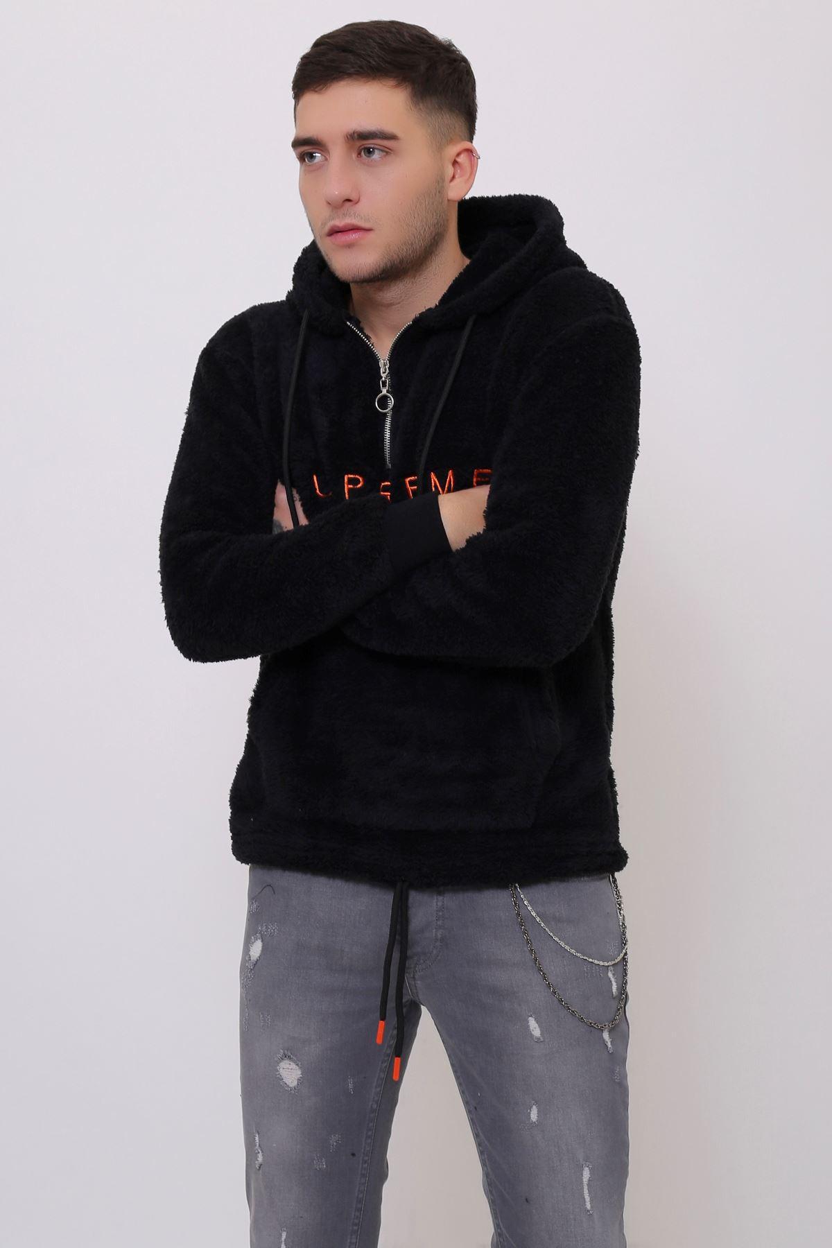 Siyah Erkek Kanguru Cepli Kapüşonlu Fermuarlı Peluş  Sweatshirt