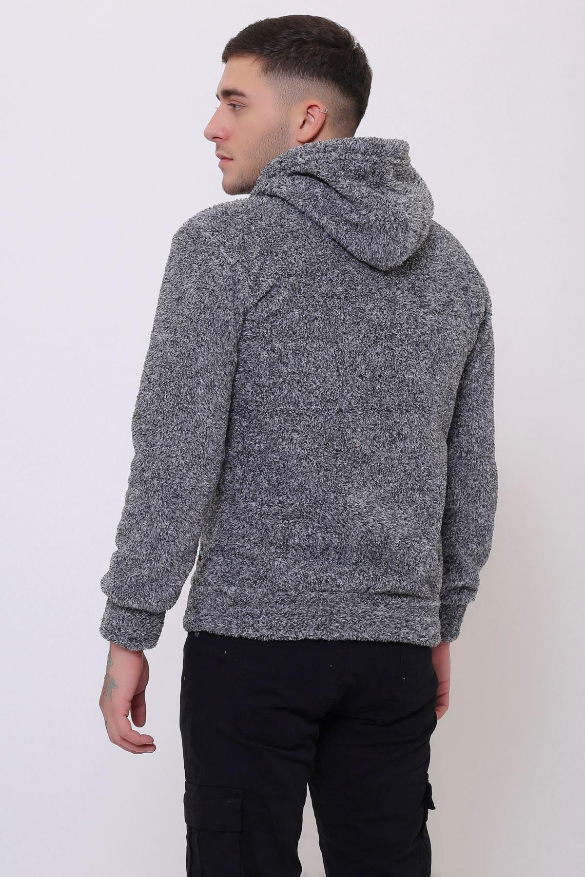 Gri Erkek Kanguru Cepli Kapüşonlu  Peluş  Sweatshirt