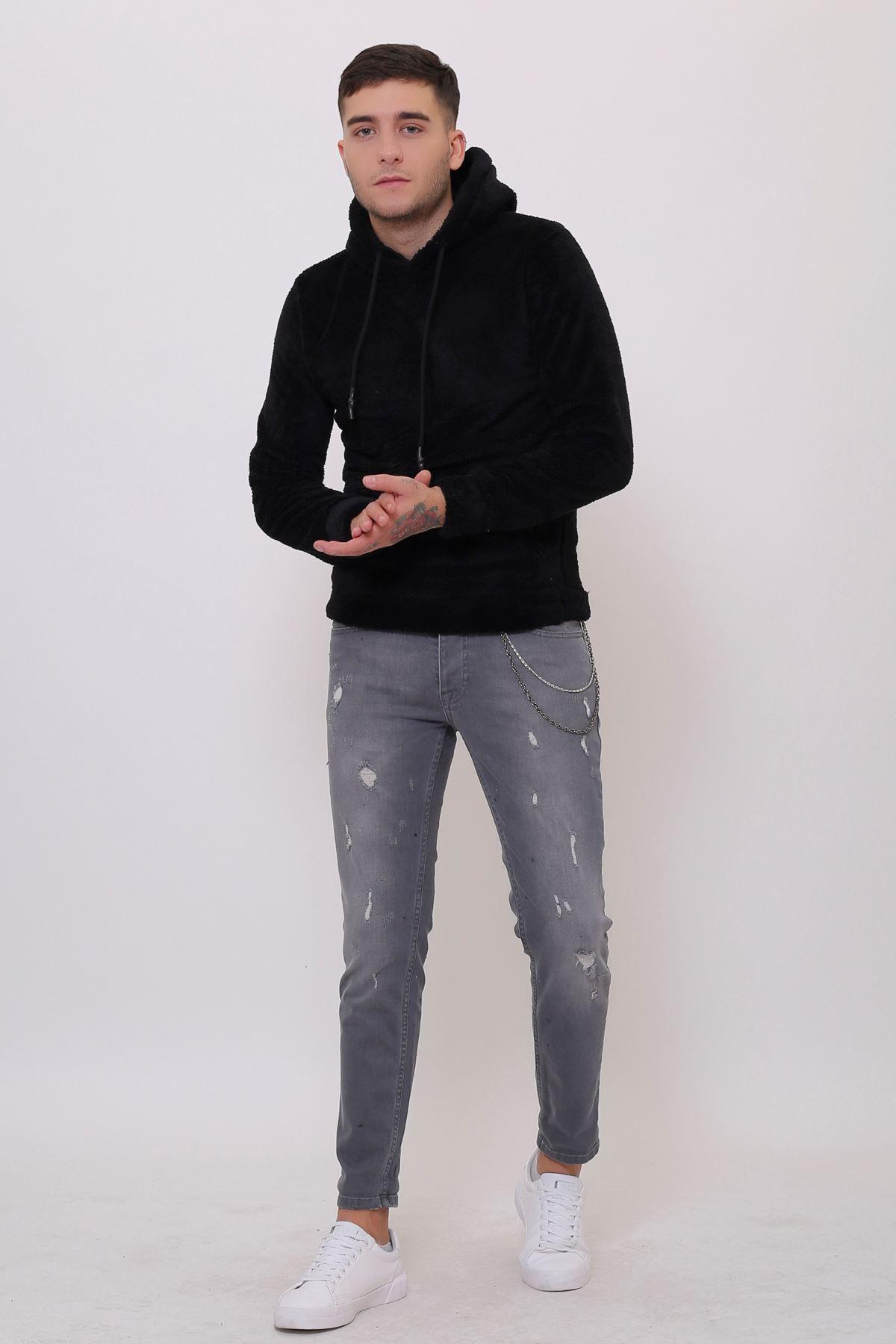Erkek  Kanguru Cepli Kapüşonlu  Siyah Peluş  Sweatshirt