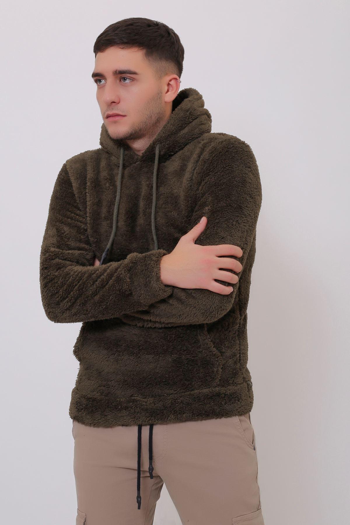 Erkek  Kanguru Cepli Kapüşonlu Haki Peluş  Sweatshirt
