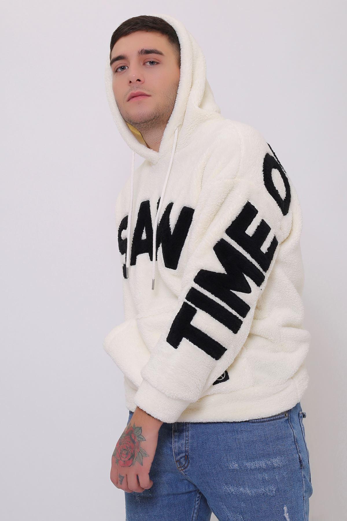 Beyaz Erkek  Kanguru Cepli Kapüşonlu Peluş  Sweatshirt