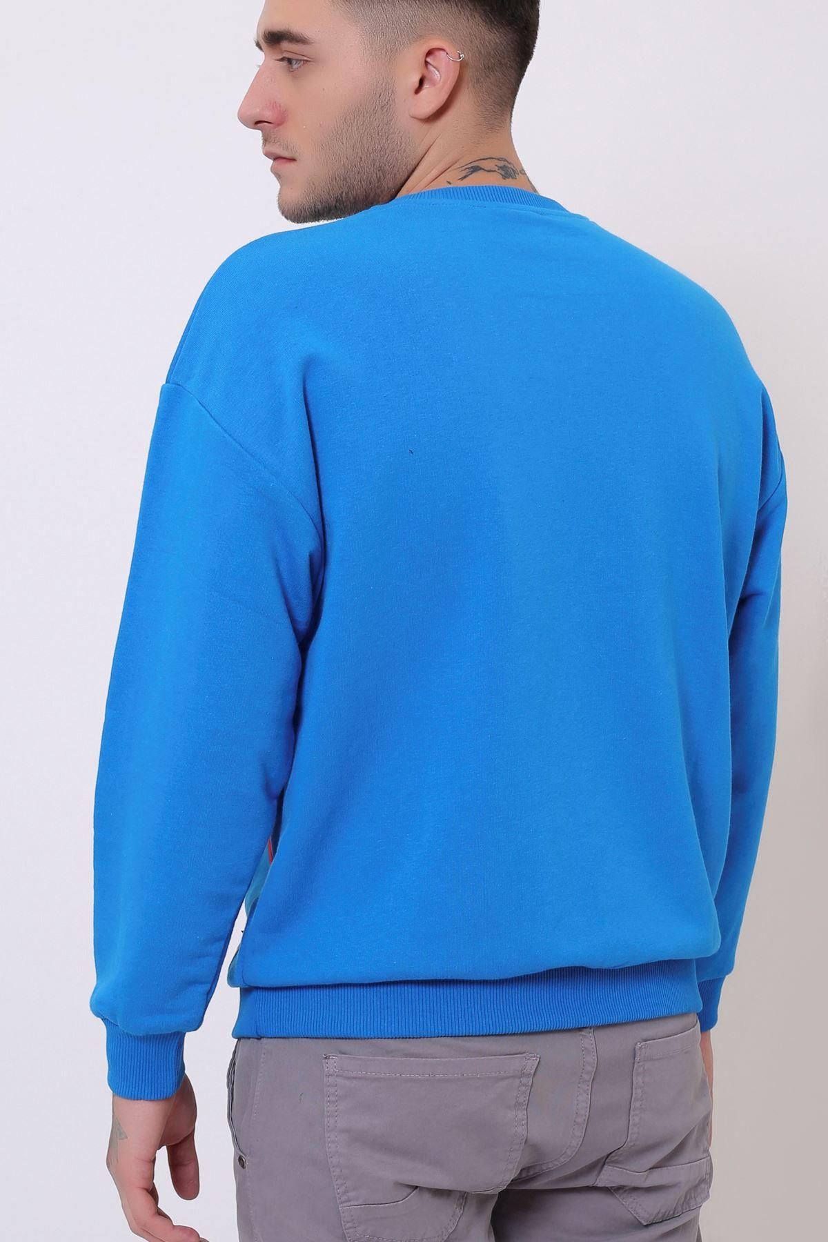 Mavi Erkek Nakış Baskılı Bisiklet Yaka Sweatshirt